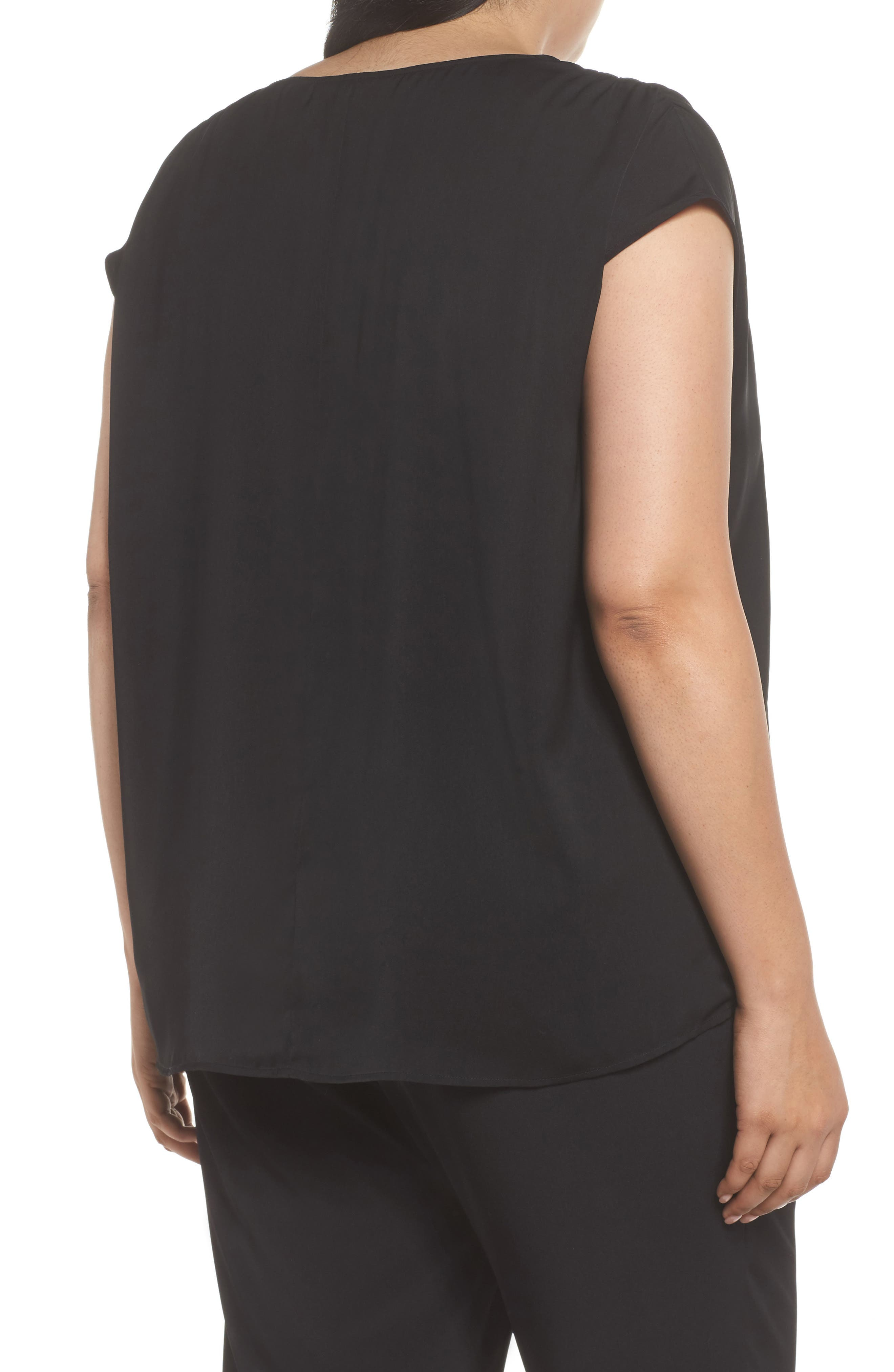Ruched Shoulder Shell,                             Alternate thumbnail 2, color,                             Black