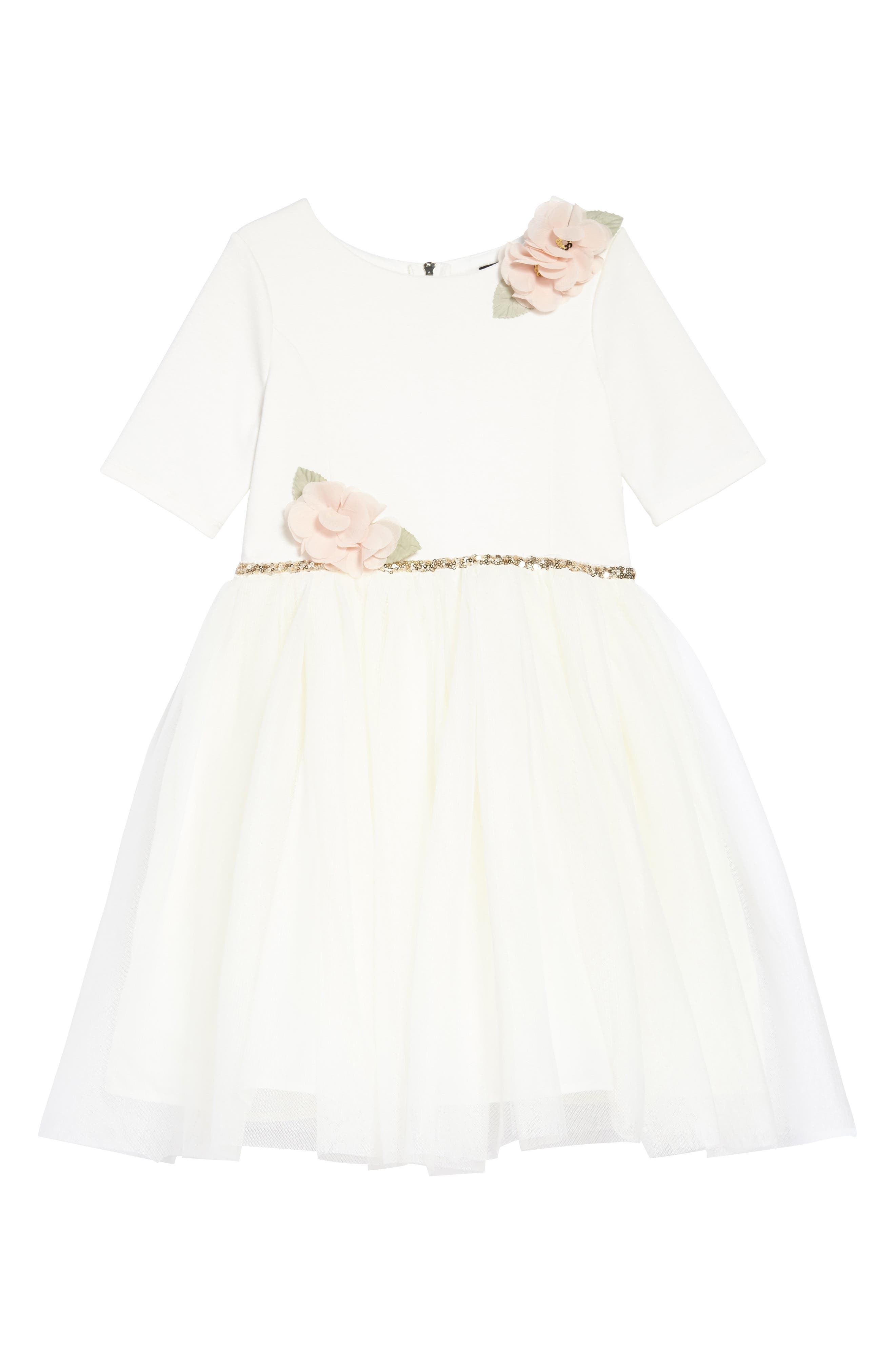 Embellished Ponte & Tulle Dress,                             Main thumbnail 1, color,                             Ivory