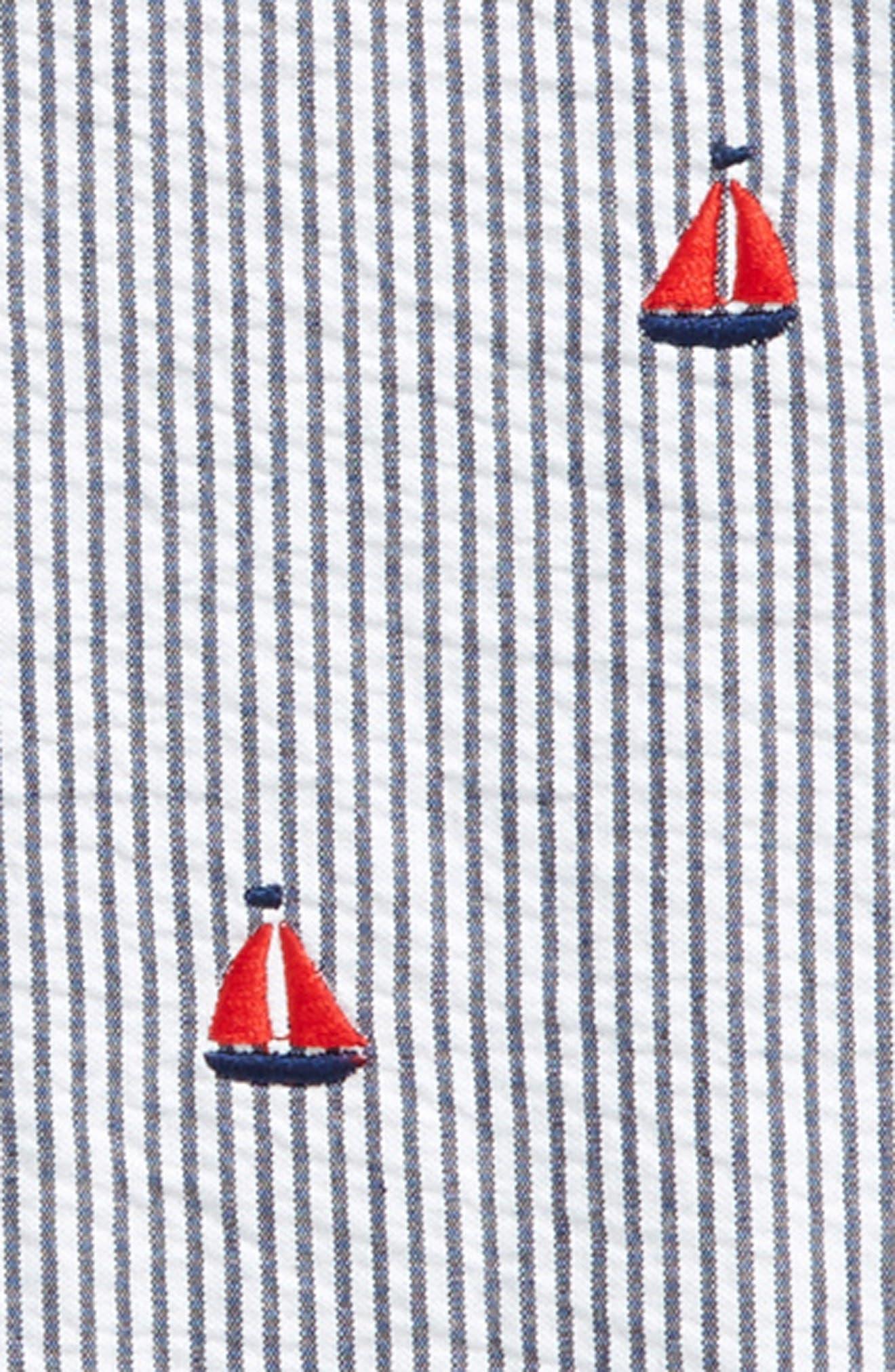 Boating Romper & Hat Set,                             Alternate thumbnail 2, color,                             Navy
