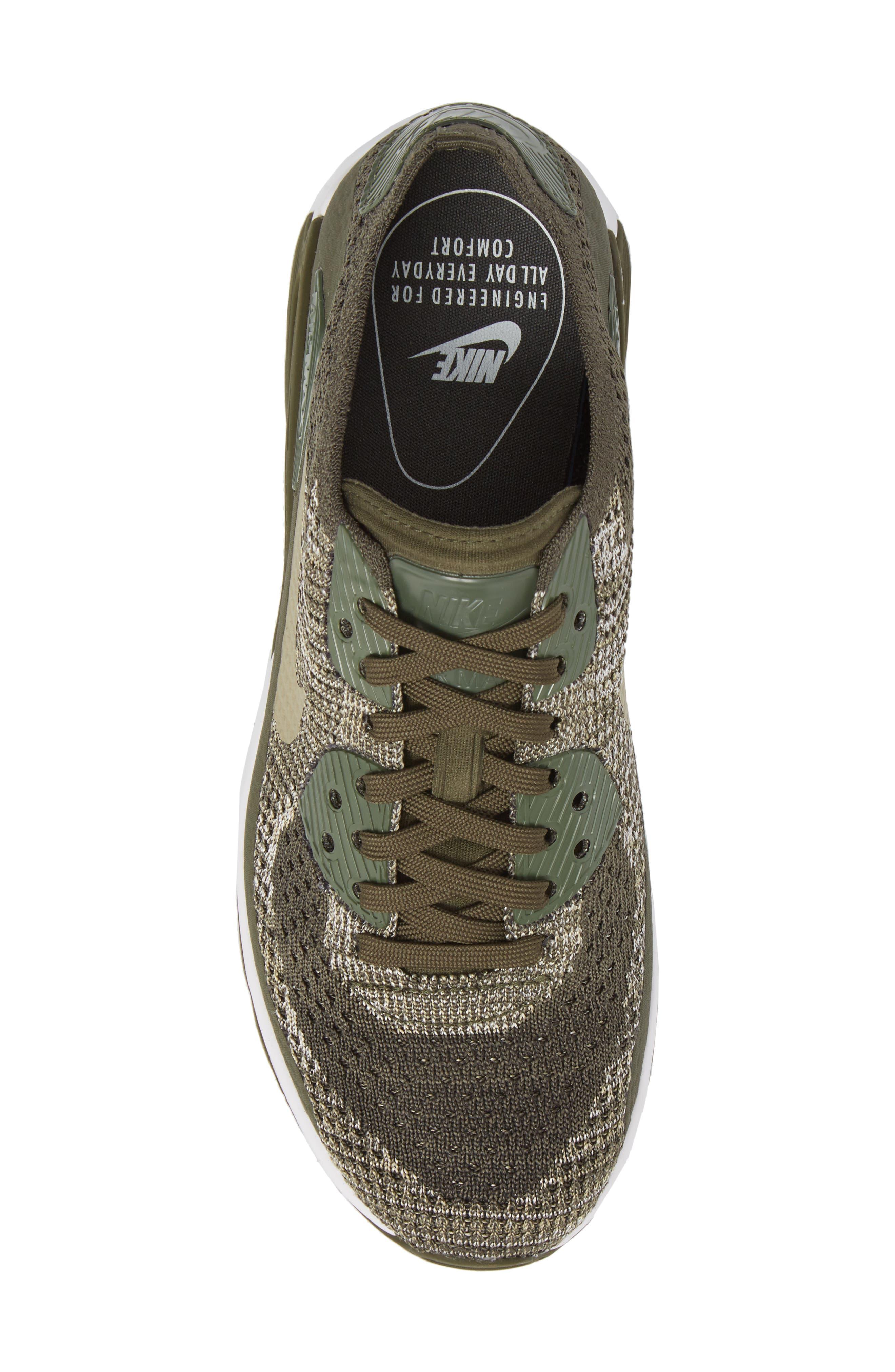Air Max 90 Flyknit Ultra 2.0 Sneaker,                             Alternate thumbnail 4, color,                             Cargo Khaki/ Neutral Olive