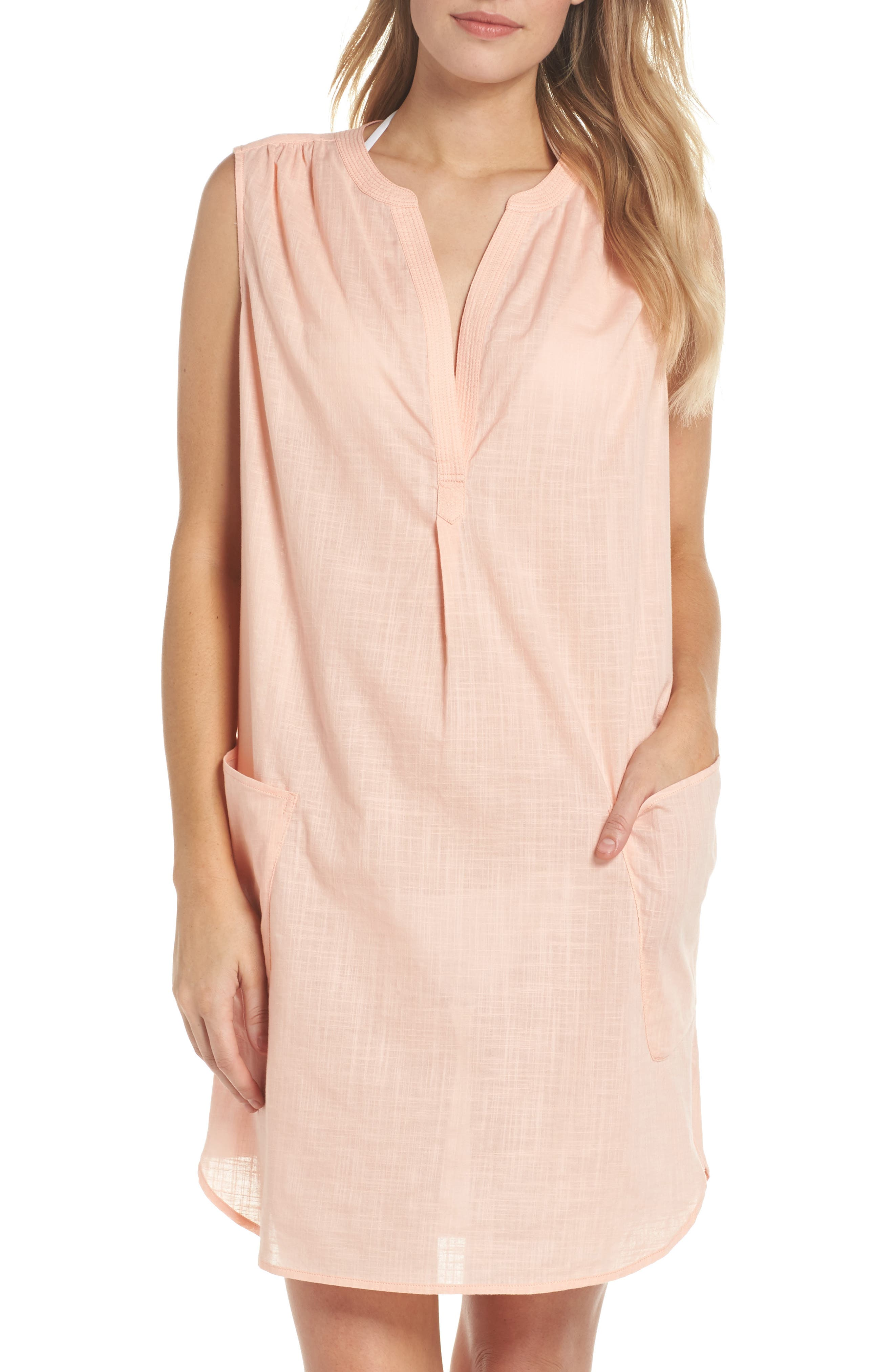 Palm Beach Cover-Up Dress,                         Main,                         color, Peach Melba