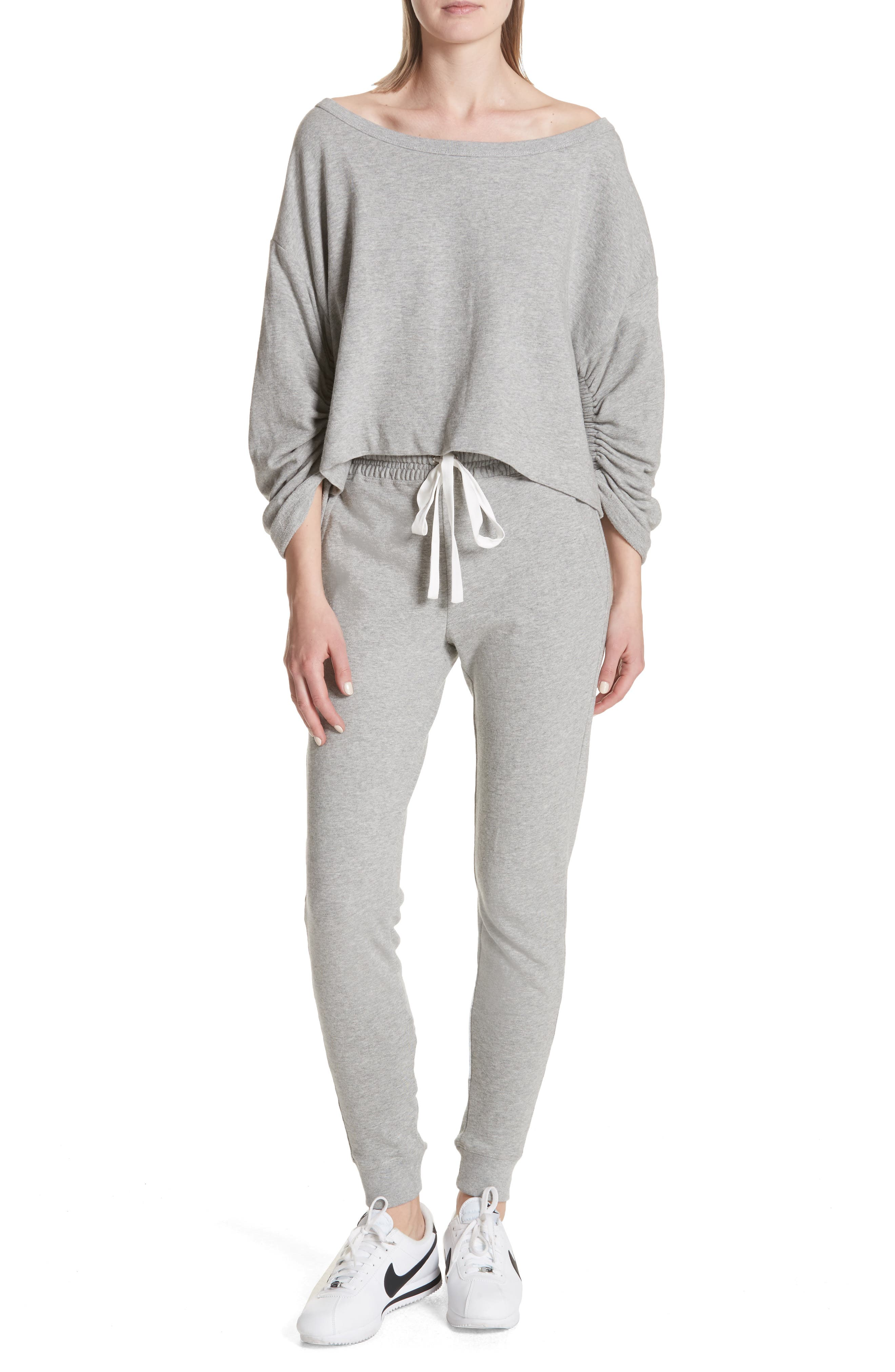 Ember Ruched Sleeve Sweatshirt,                             Alternate thumbnail 7, color,                             Heather Grey