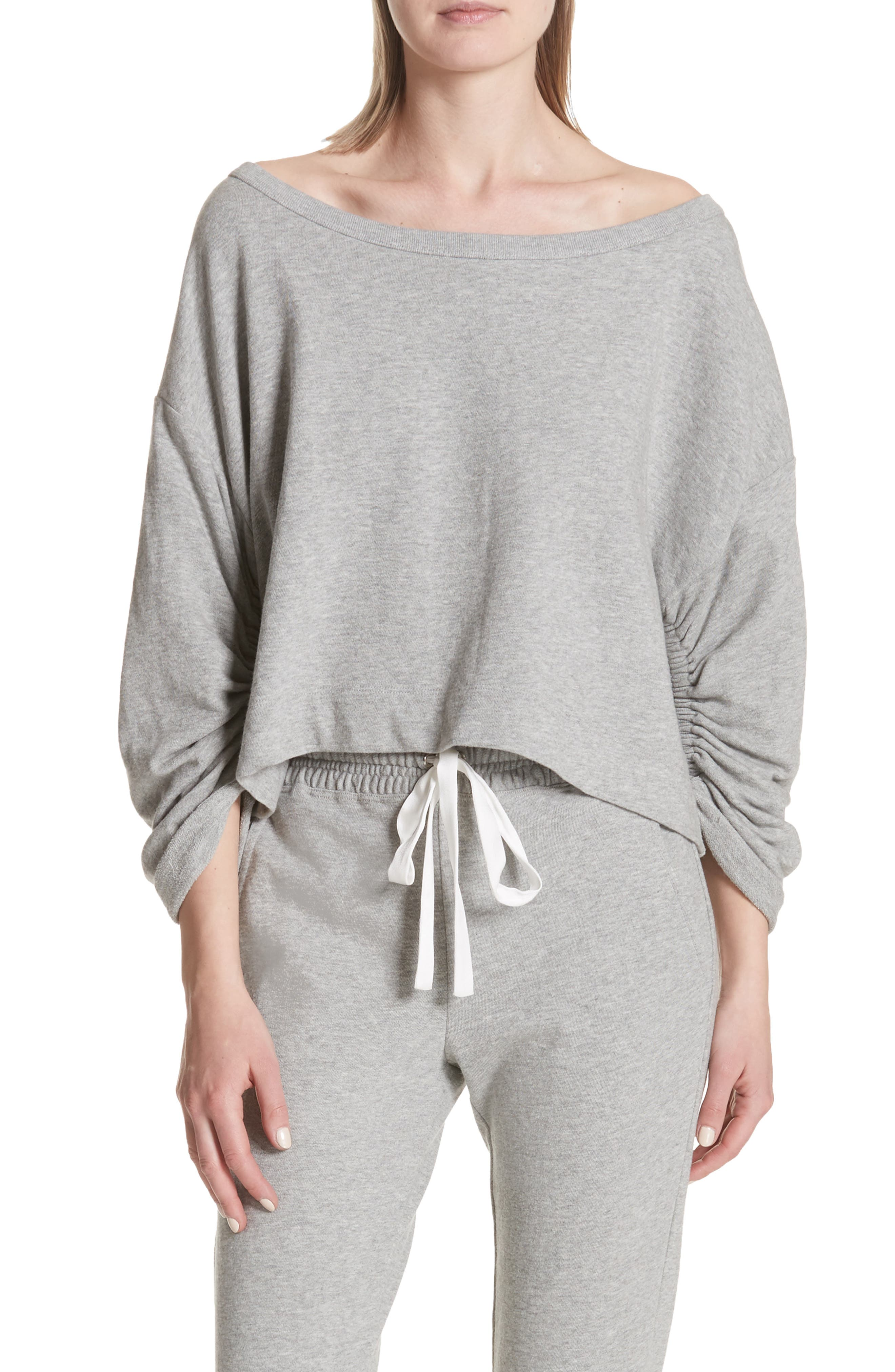 Ember Ruched Sleeve Sweatshirt,                             Main thumbnail 1, color,                             Heather Grey