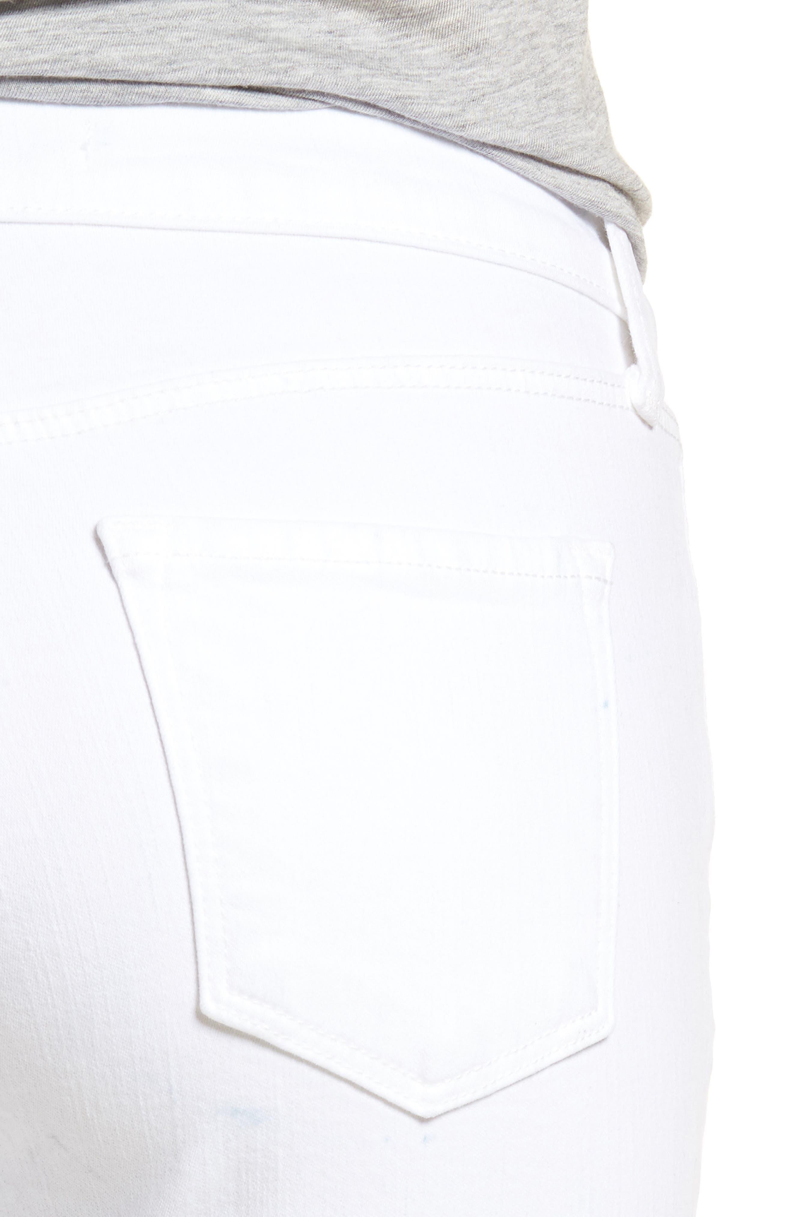 Mid-Rise Capri Skinny Jeans,                             Alternate thumbnail 4, color,                             White Mercy