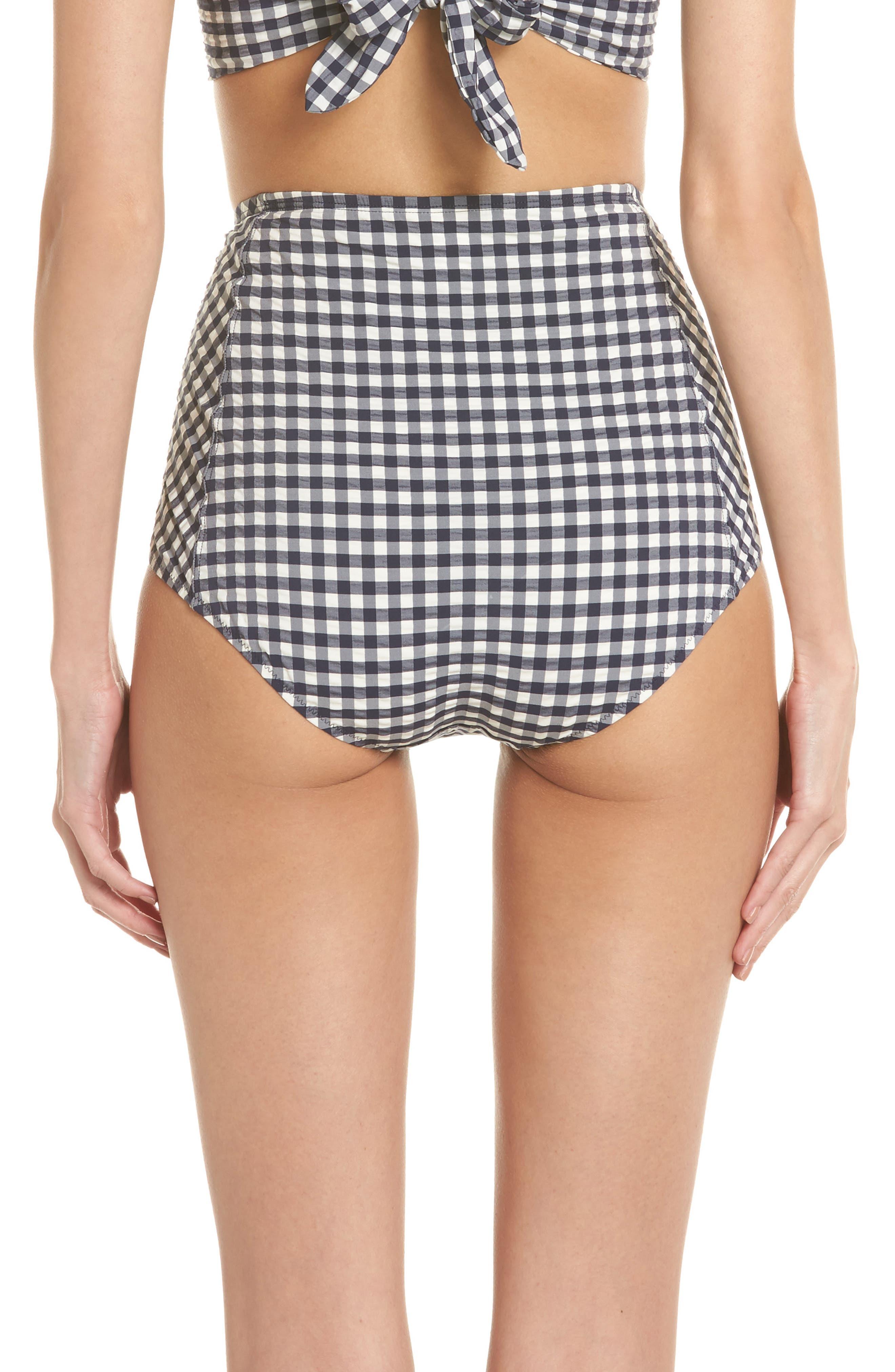 Gingham High Waist Bikini Bottoms,                             Alternate thumbnail 2, color,                             Tory Navy / White