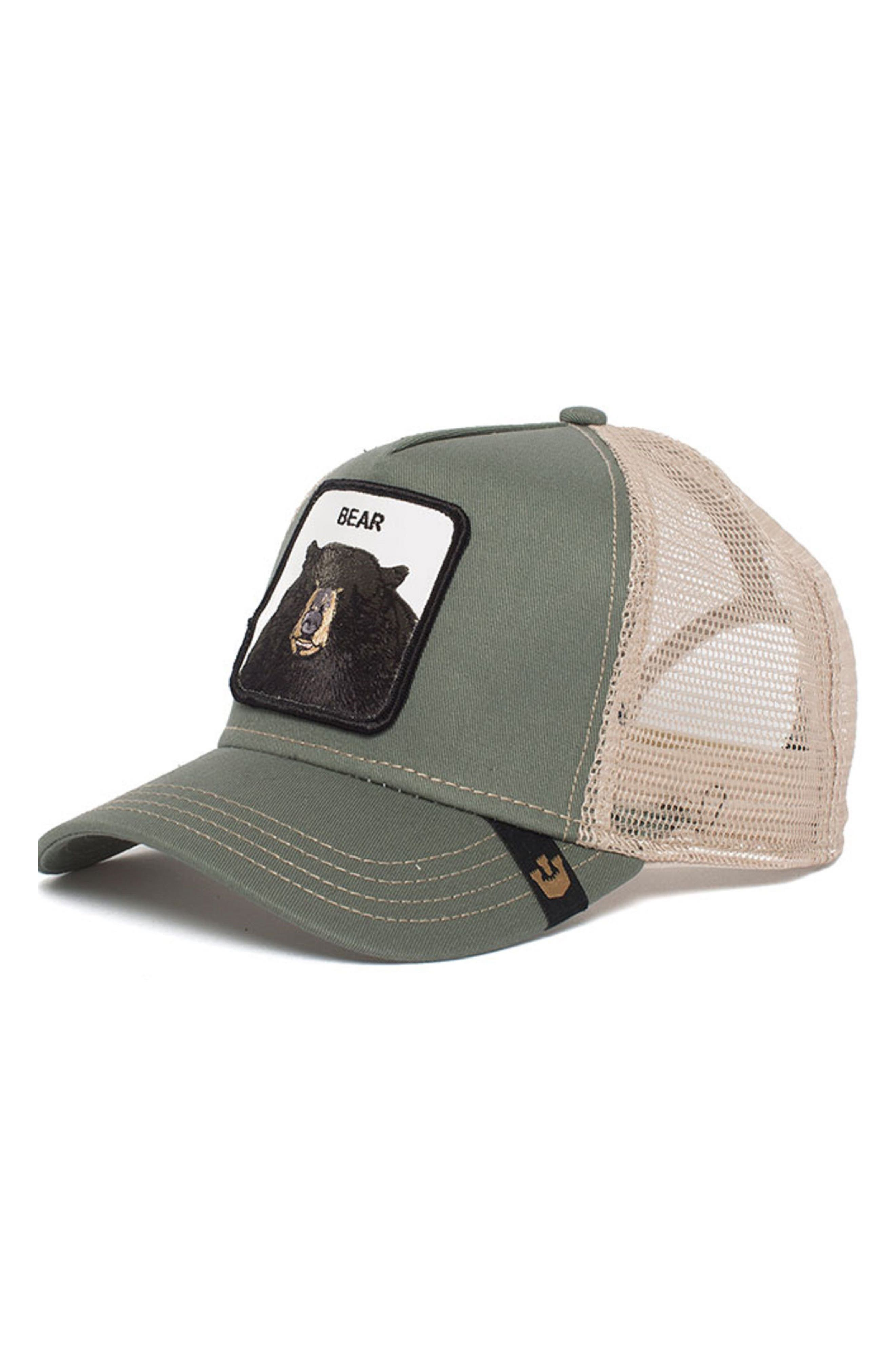 Drew Bear Trucker Hat,                         Main,                         color, Olive