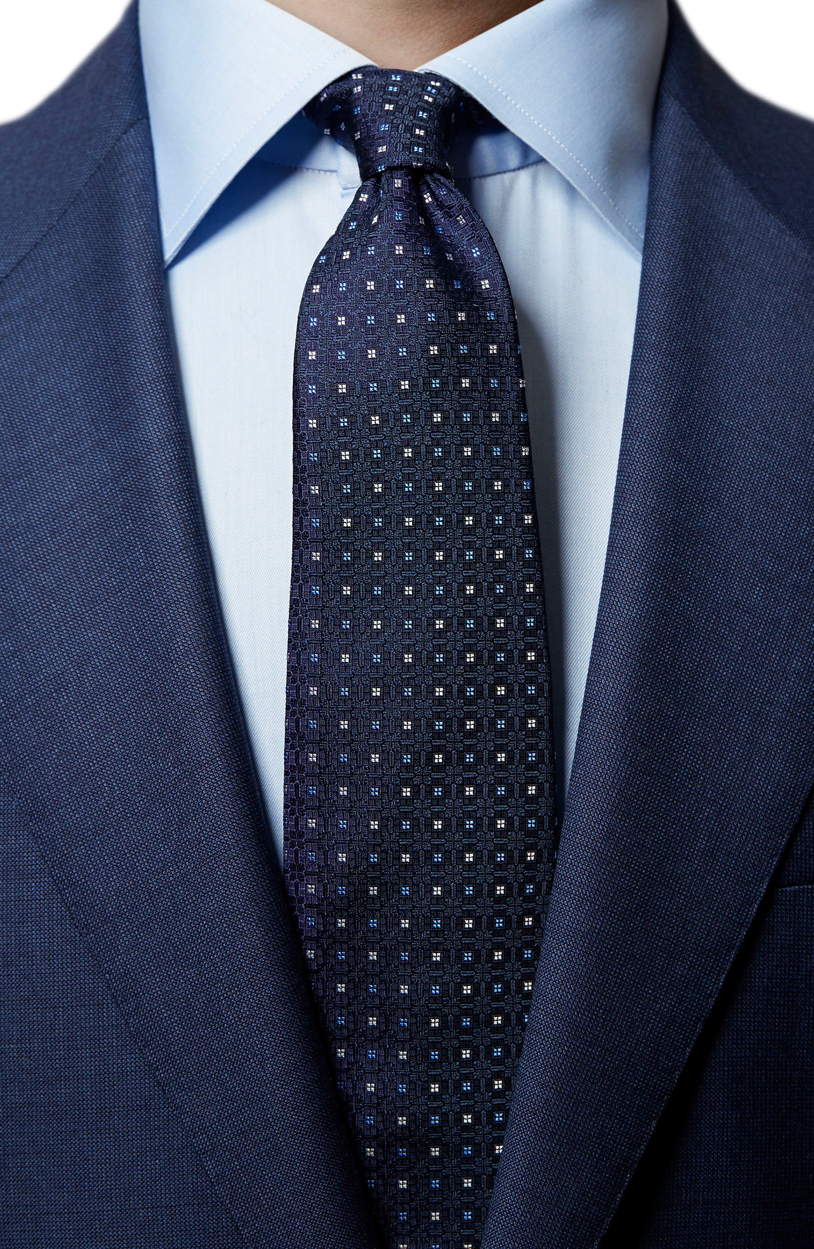 Medallion Silk Tie,                             Alternate thumbnail 3, color,                             Navy