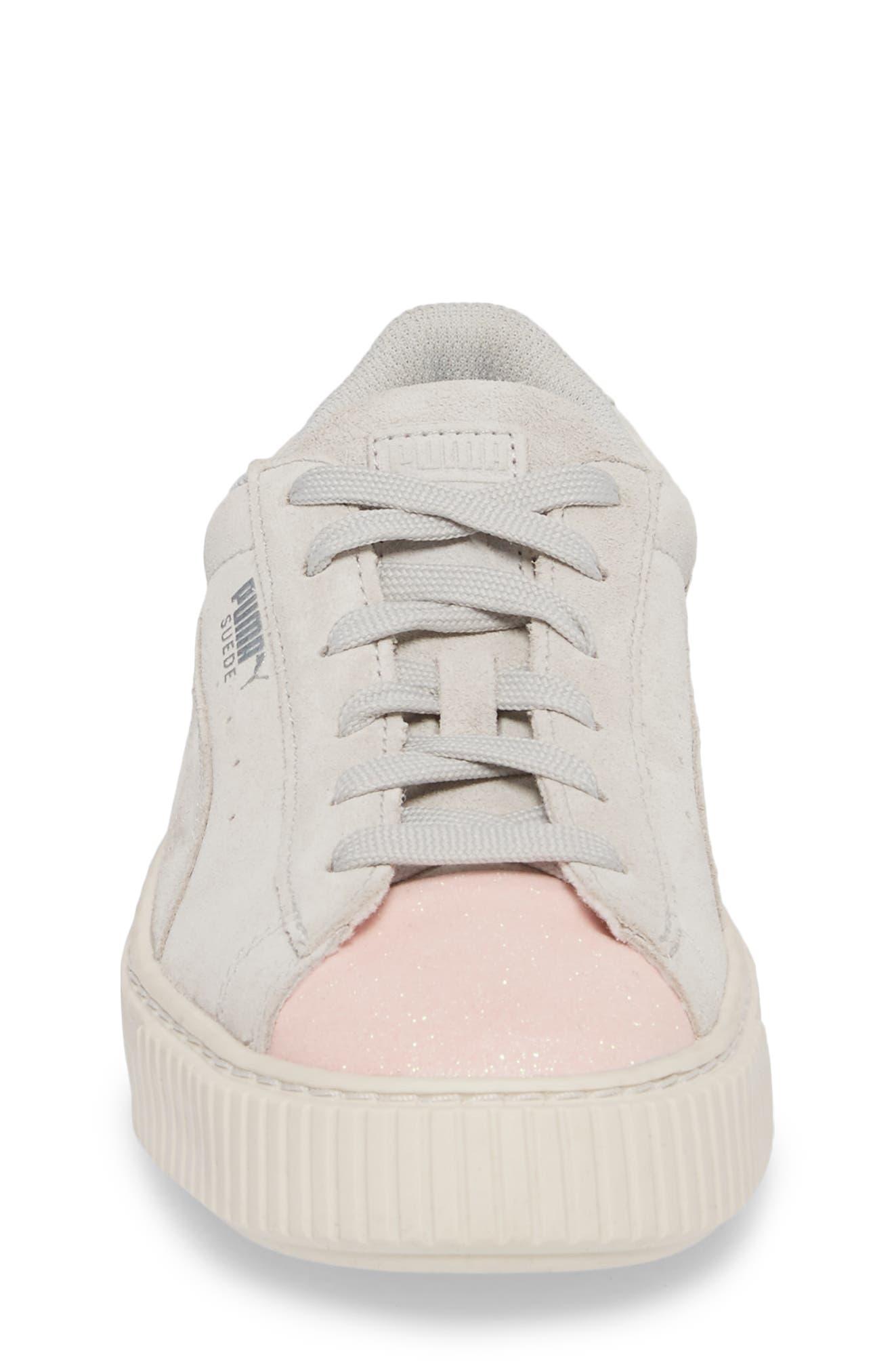 Suede Platform Glam PS Sneaker,                             Alternate thumbnail 4, color,                             Pearl/ Glacier Gray