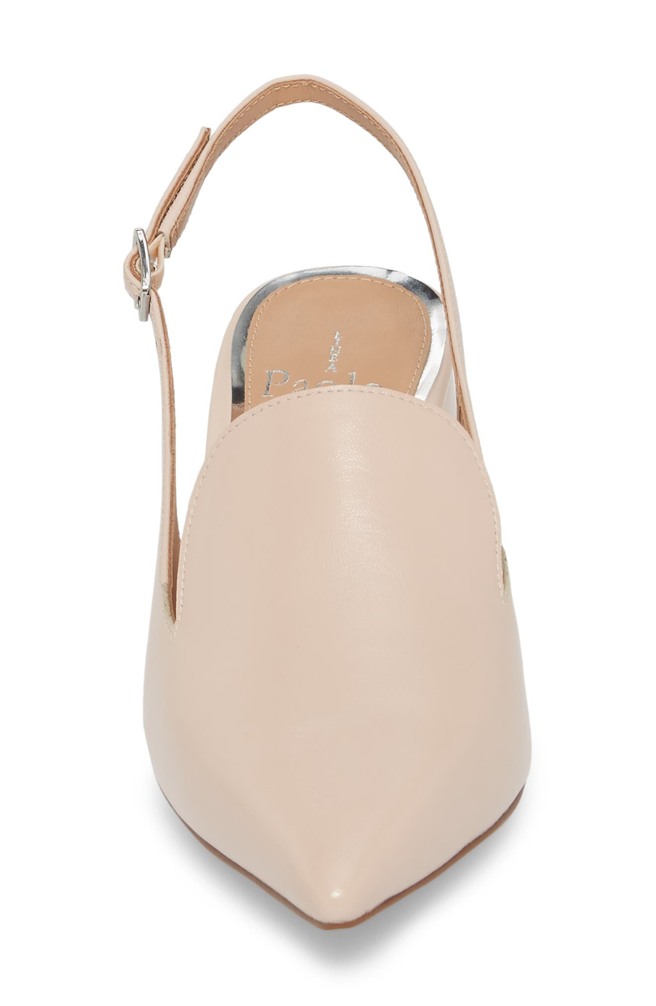 Carly Slingback Pump,                             Alternate thumbnail 4, color,                             Pale Pink Leather
