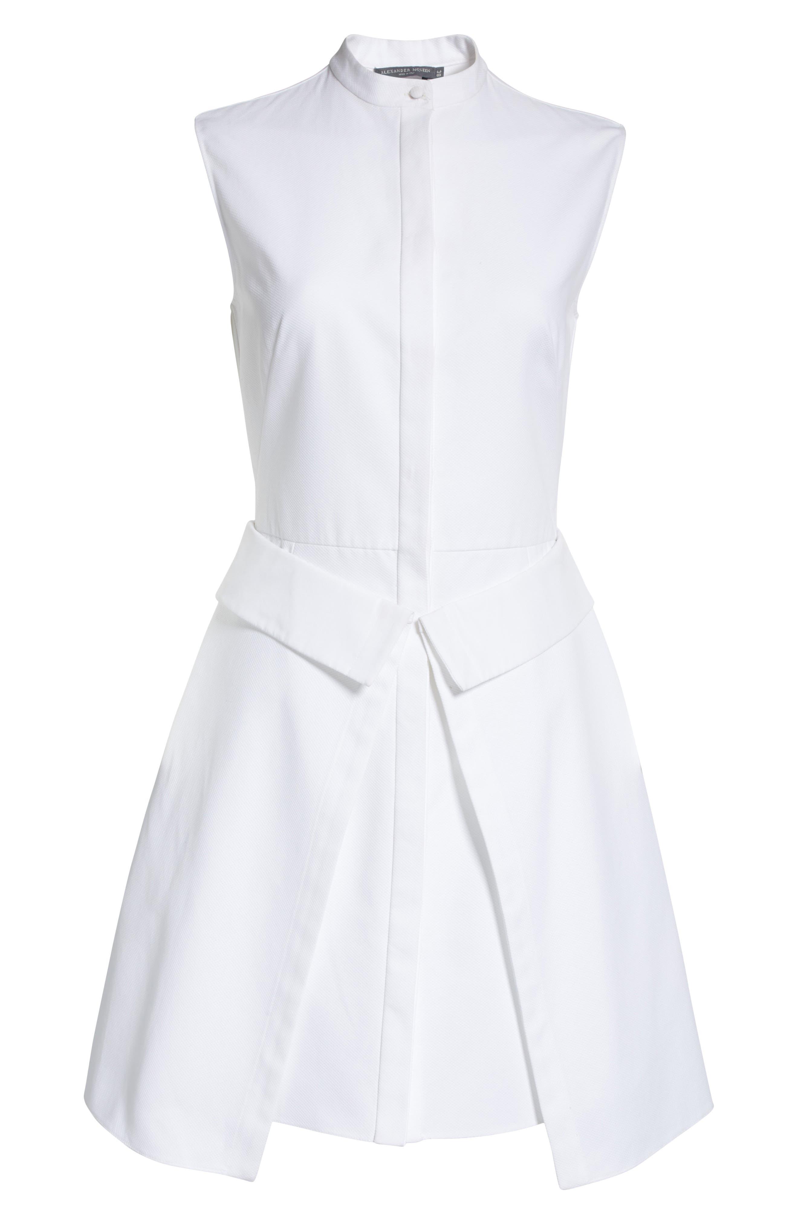 Peplum Hem Piqué Dress,                             Alternate thumbnail 7, color,                             Optic White