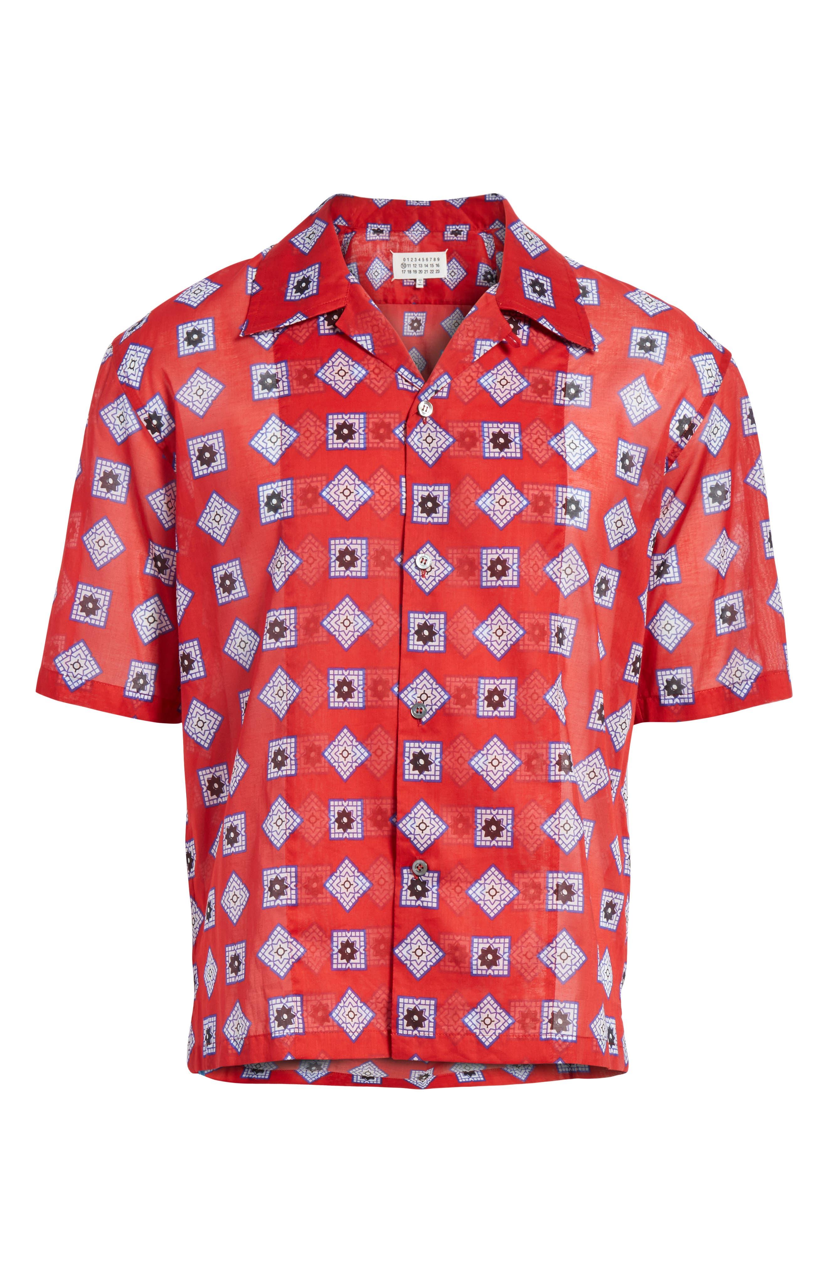 Muslin Print Camp Shirt,                             Alternate thumbnail 6, color,                             Red