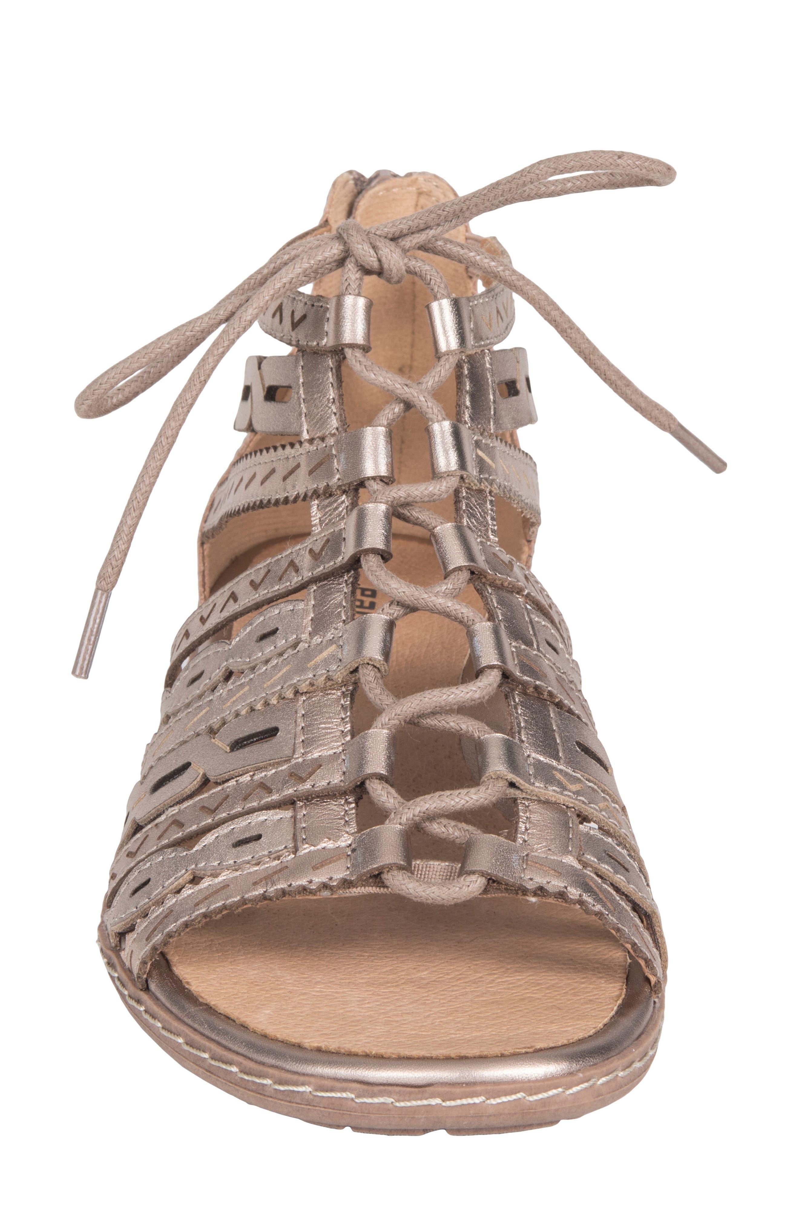Tidal Mid Top Ghillie Sandal,                             Alternate thumbnail 4, color,                             Titanium Leather