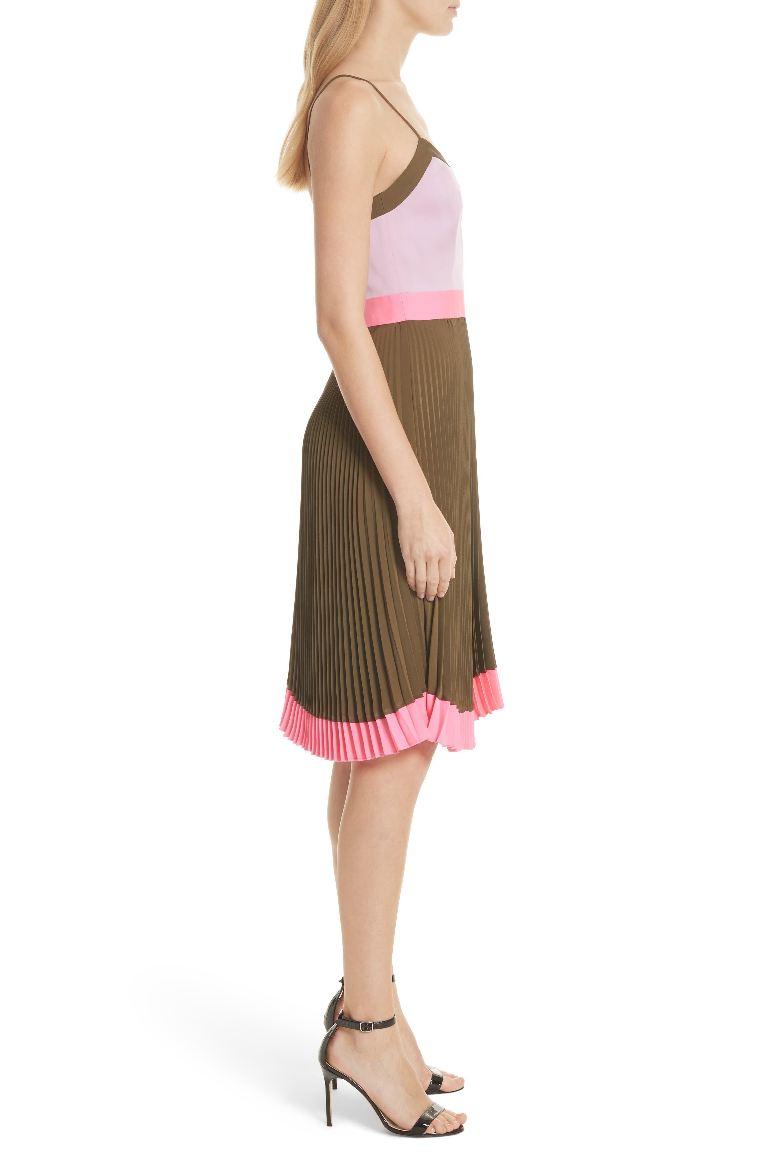 Jill Pleated Stretch Silk Dress,                             Alternate thumbnail 3, color,                             Olive/ Petal/ Fluo Pink