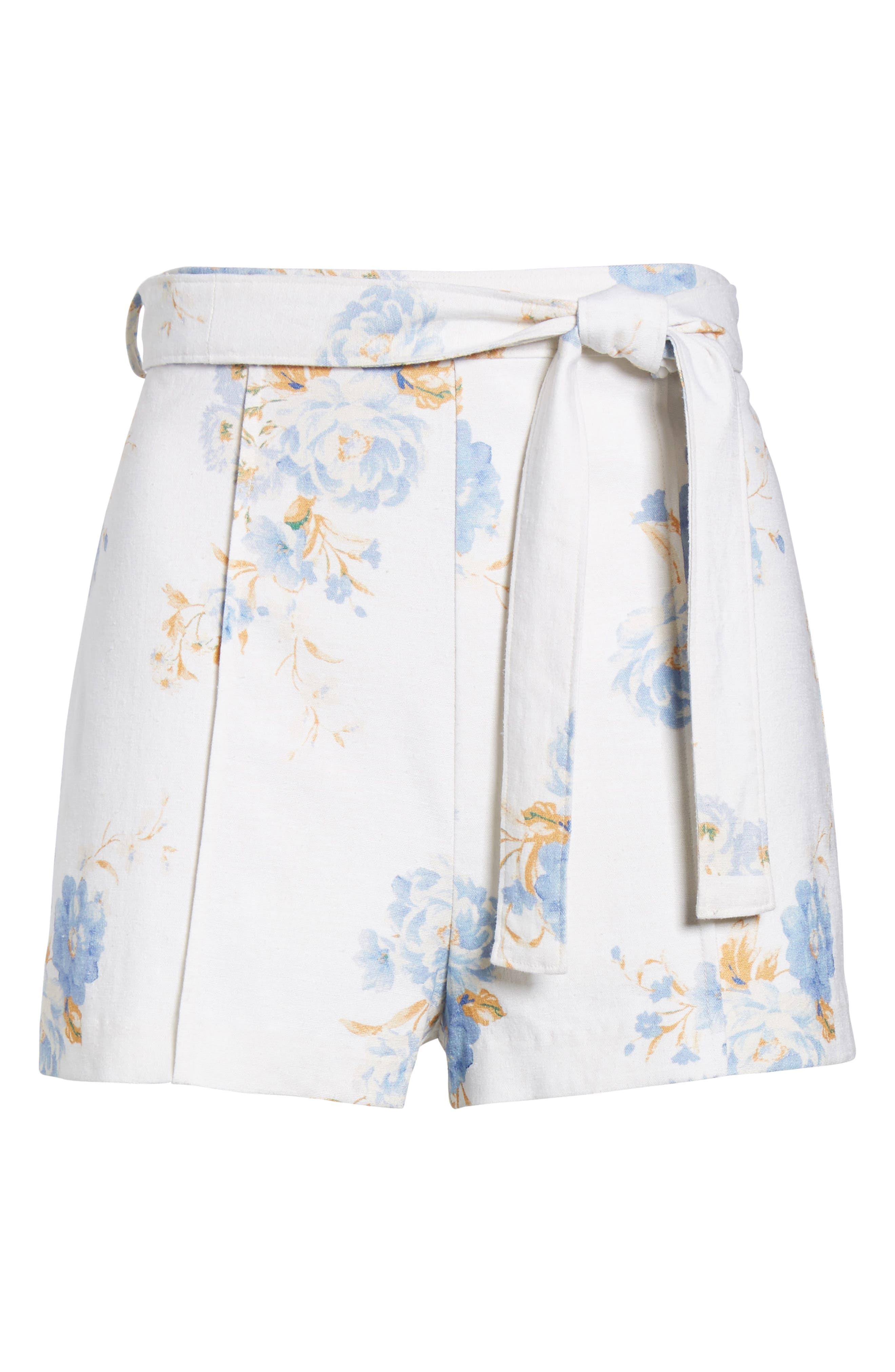 Matera High Waist Shorts,                             Alternate thumbnail 6, color,                             Ivory Floral