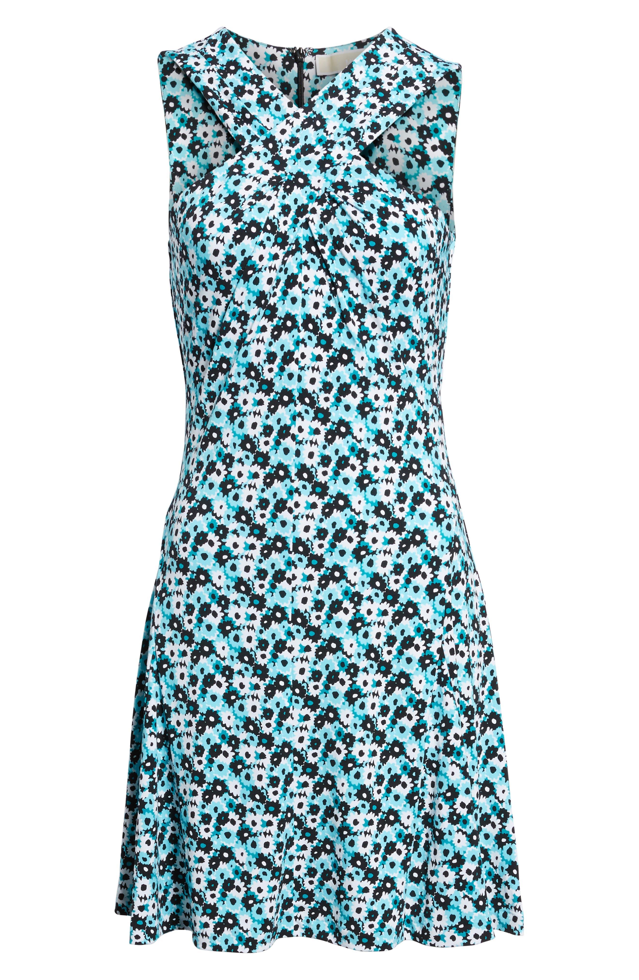 Carnations Cross Neck Fit and Flare Dress,                             Alternate thumbnail 6, color,                             Tile Blue/ Black Multi