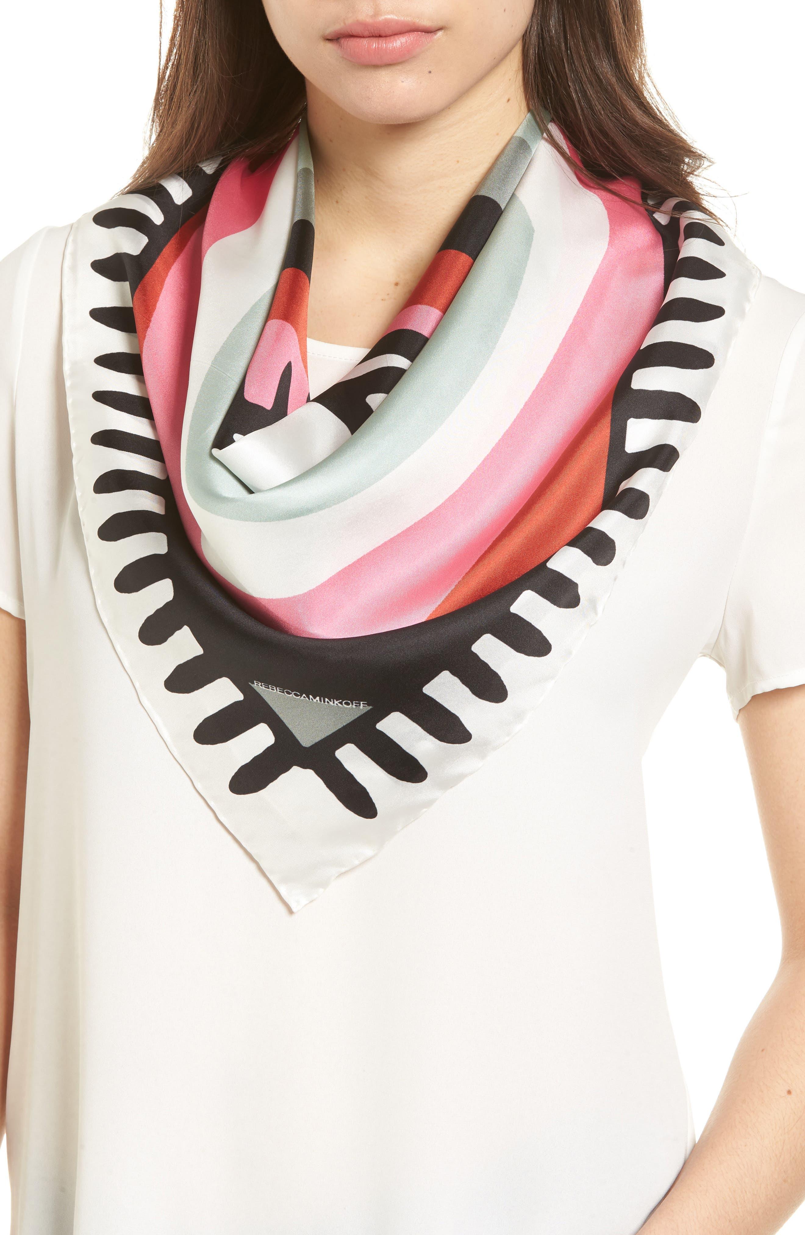Evil Eye Square Silk Scarf,                         Main,                         color, White Multi