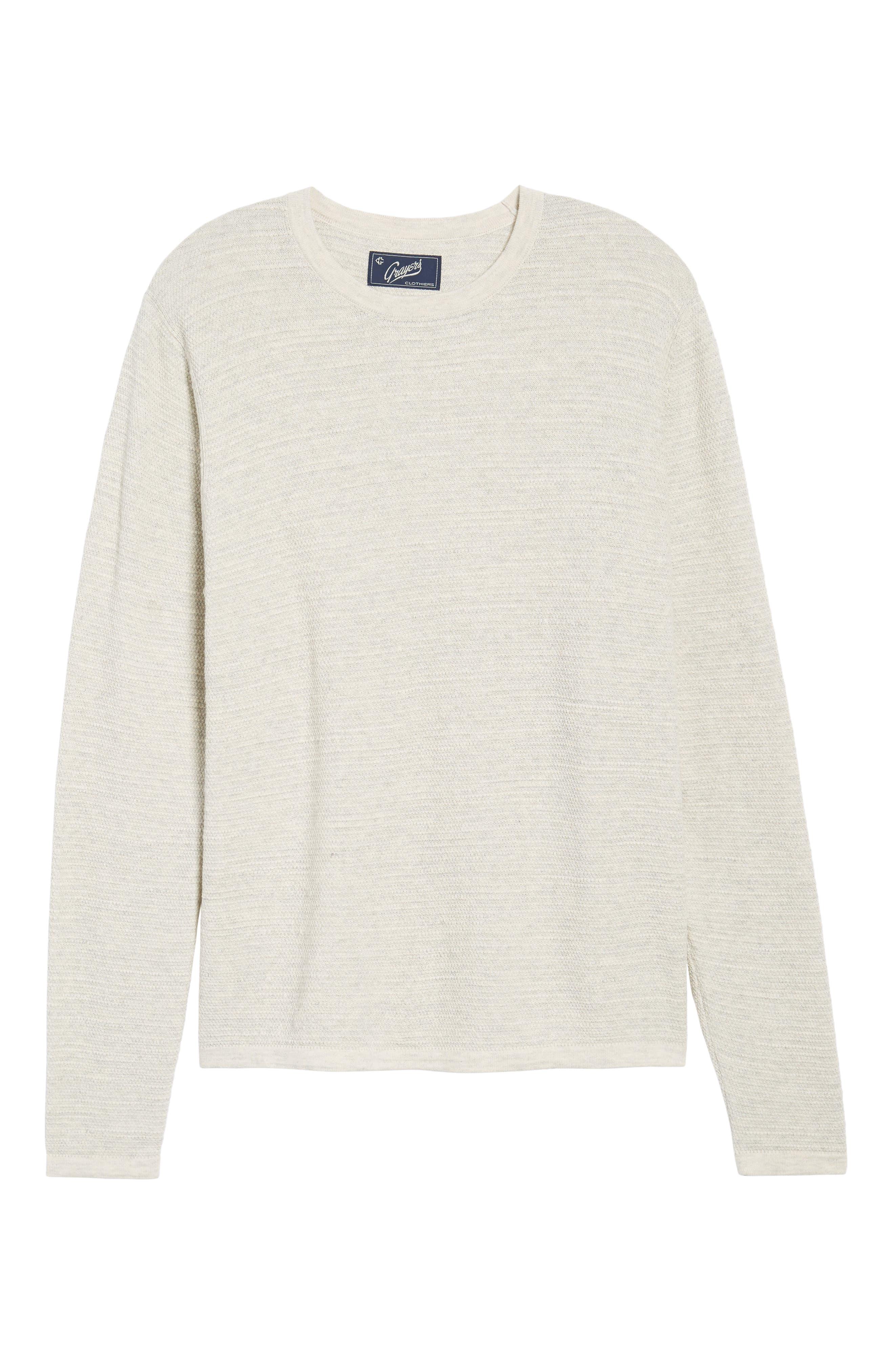 Slub Thermal Knit Sweater,                             Alternate thumbnail 6, color,                             Cream Heather