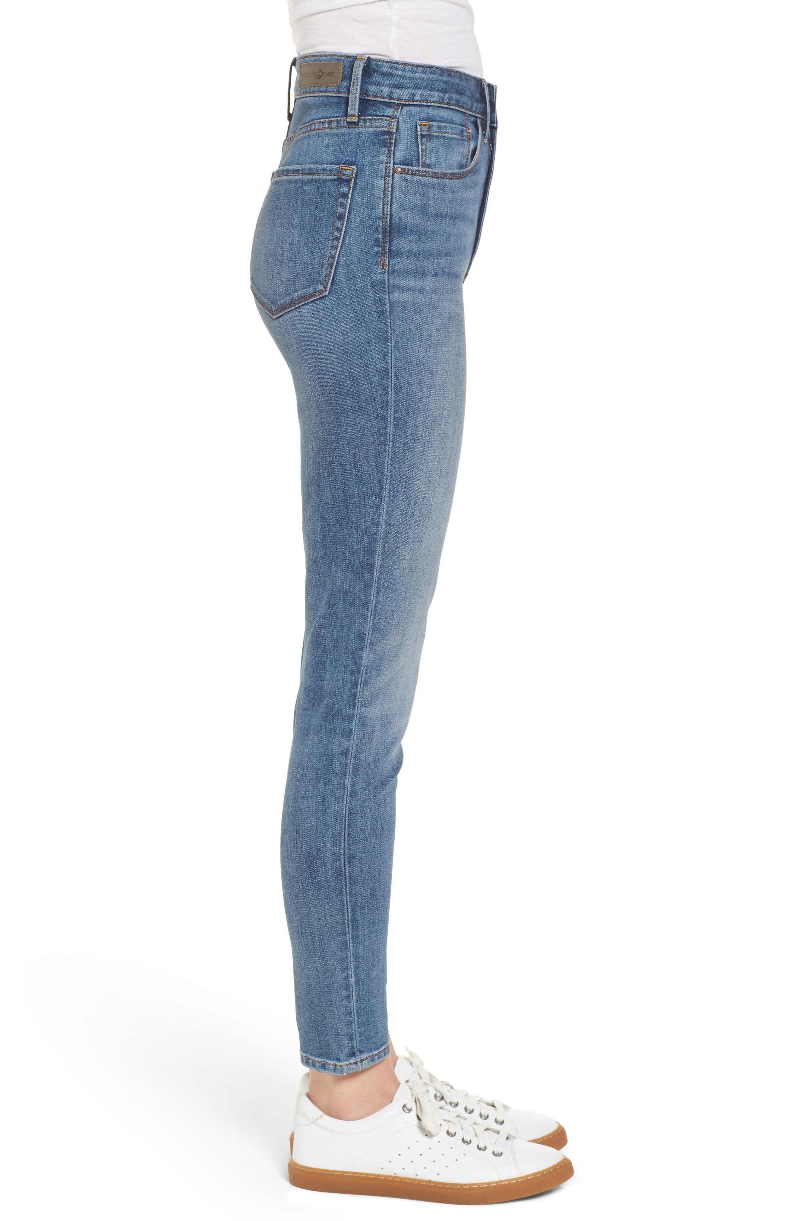 Charity High Waist Skinny Ankle Jeans,                             Alternate thumbnail 4, color,                             Rain Dusk Worn