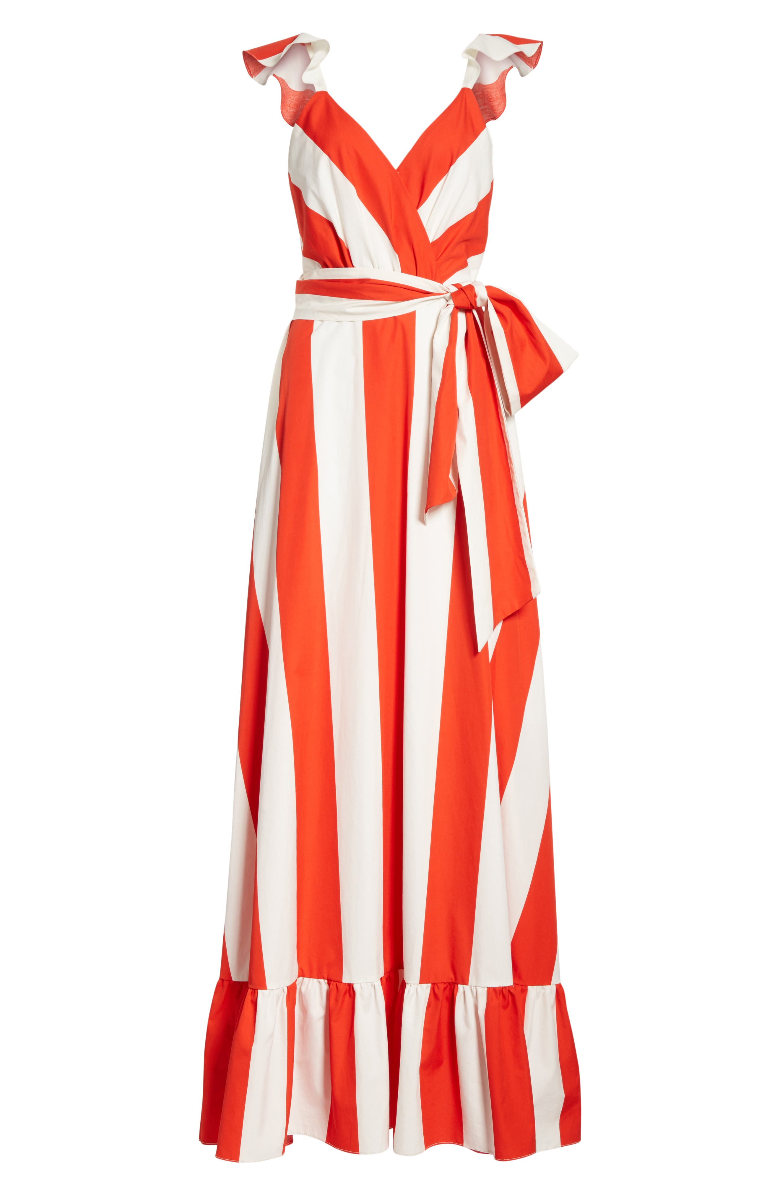 Fernanda Stripe Cotton Maxi Dress,                             Alternate thumbnail 6, color,                             Sixties Stripe- Poppy