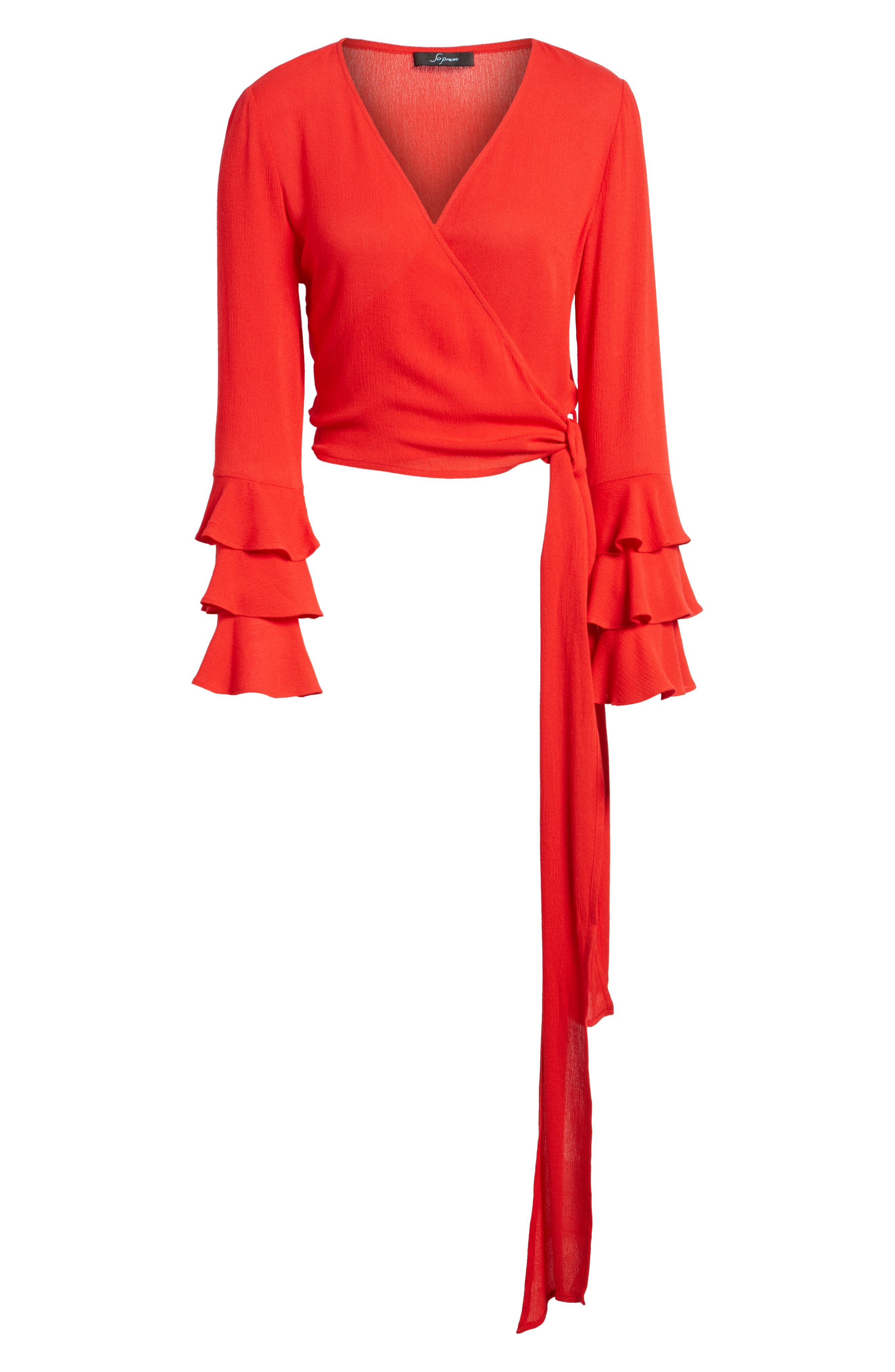 Tier Sleeve Tie Front Top,                             Alternate thumbnail 7, color,                             Candy Red