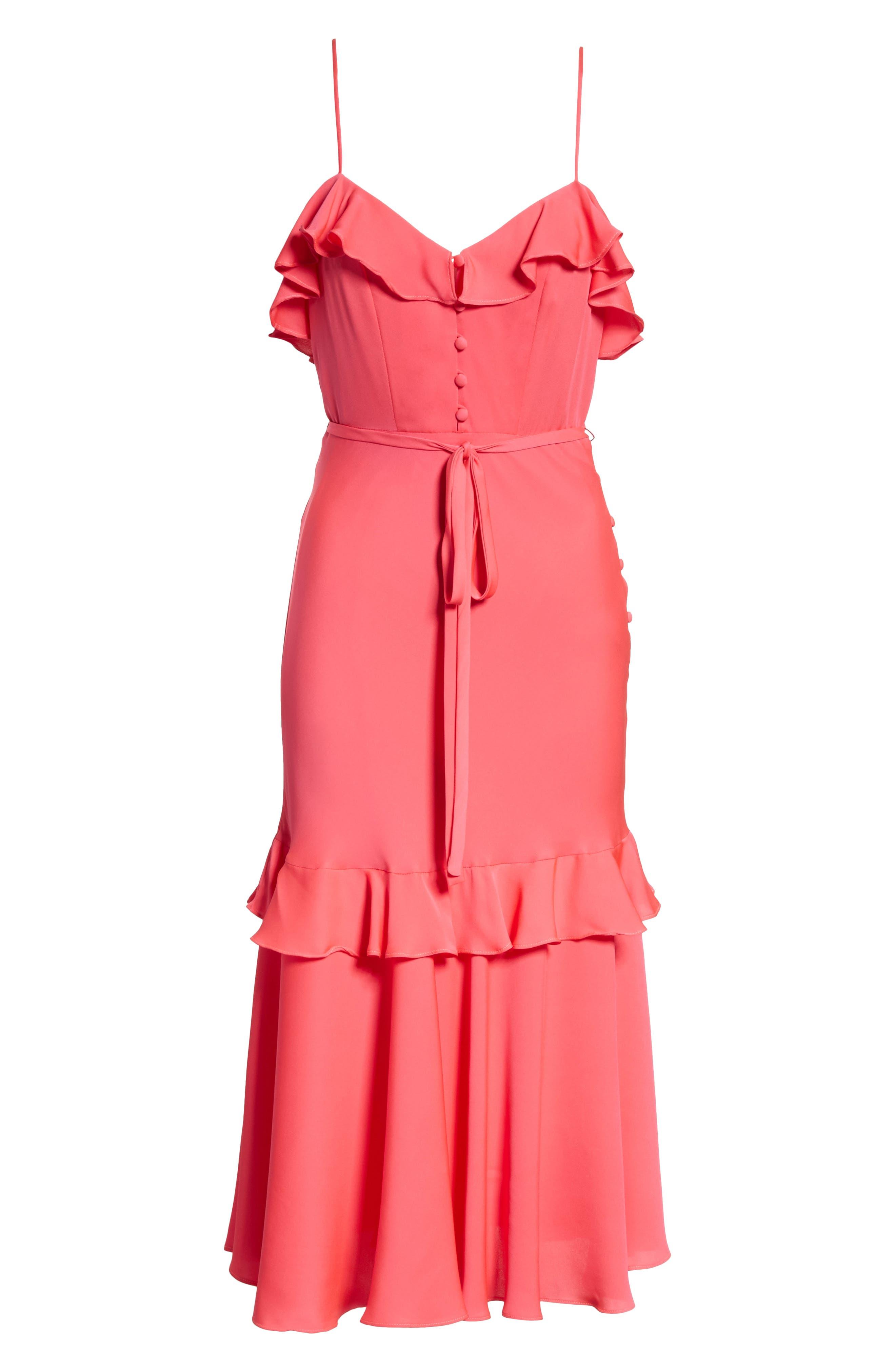 Petal Stretch Silk Midi Dress,                             Alternate thumbnail 6, color,                             Guava