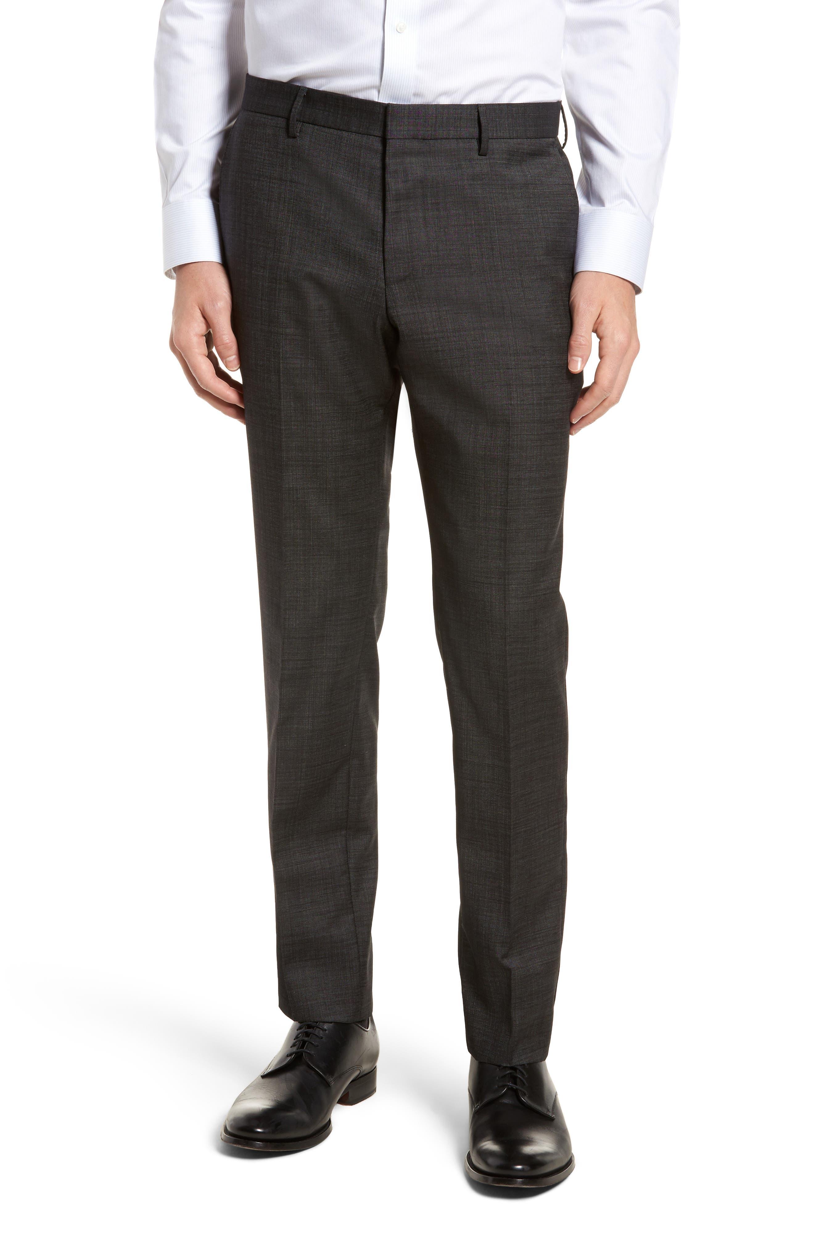 Novan/Ben Trim Fit Solid Wool Suit,                             Alternate thumbnail 5, color,                             Black