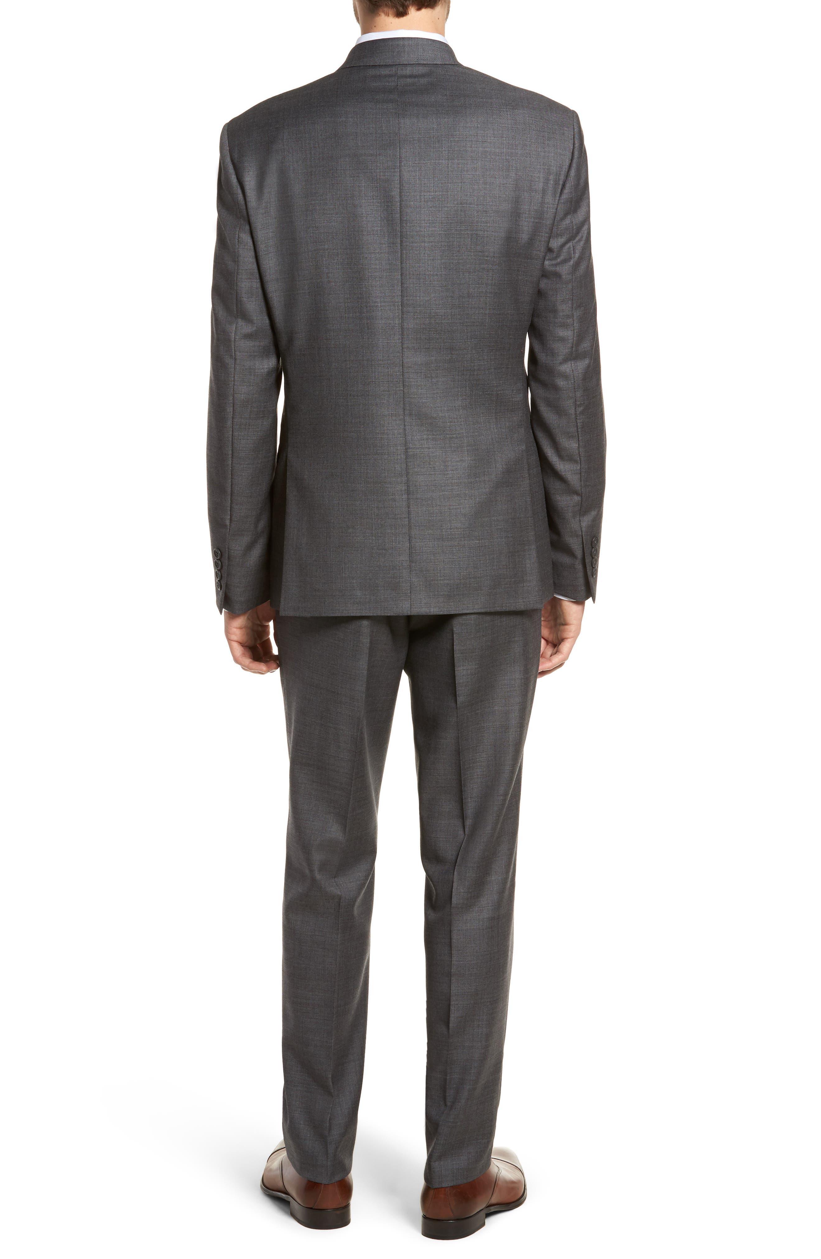 Trim Fit Sharkskin Wool Suit,                             Alternate thumbnail 2, color,                             Mid Char