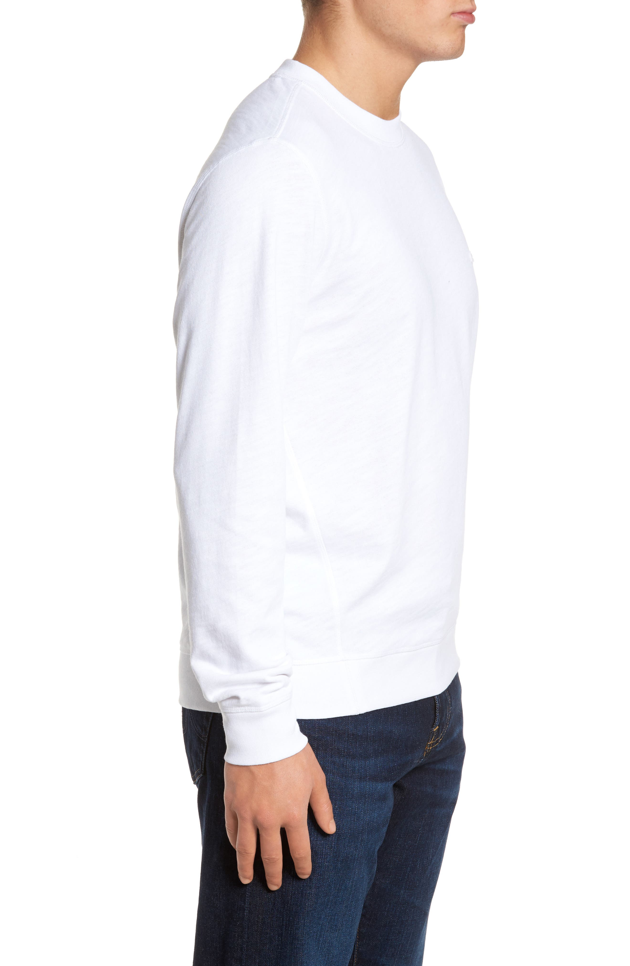 Slim Fit French Terry Sweatshirt,                             Alternate thumbnail 3, color,                             White