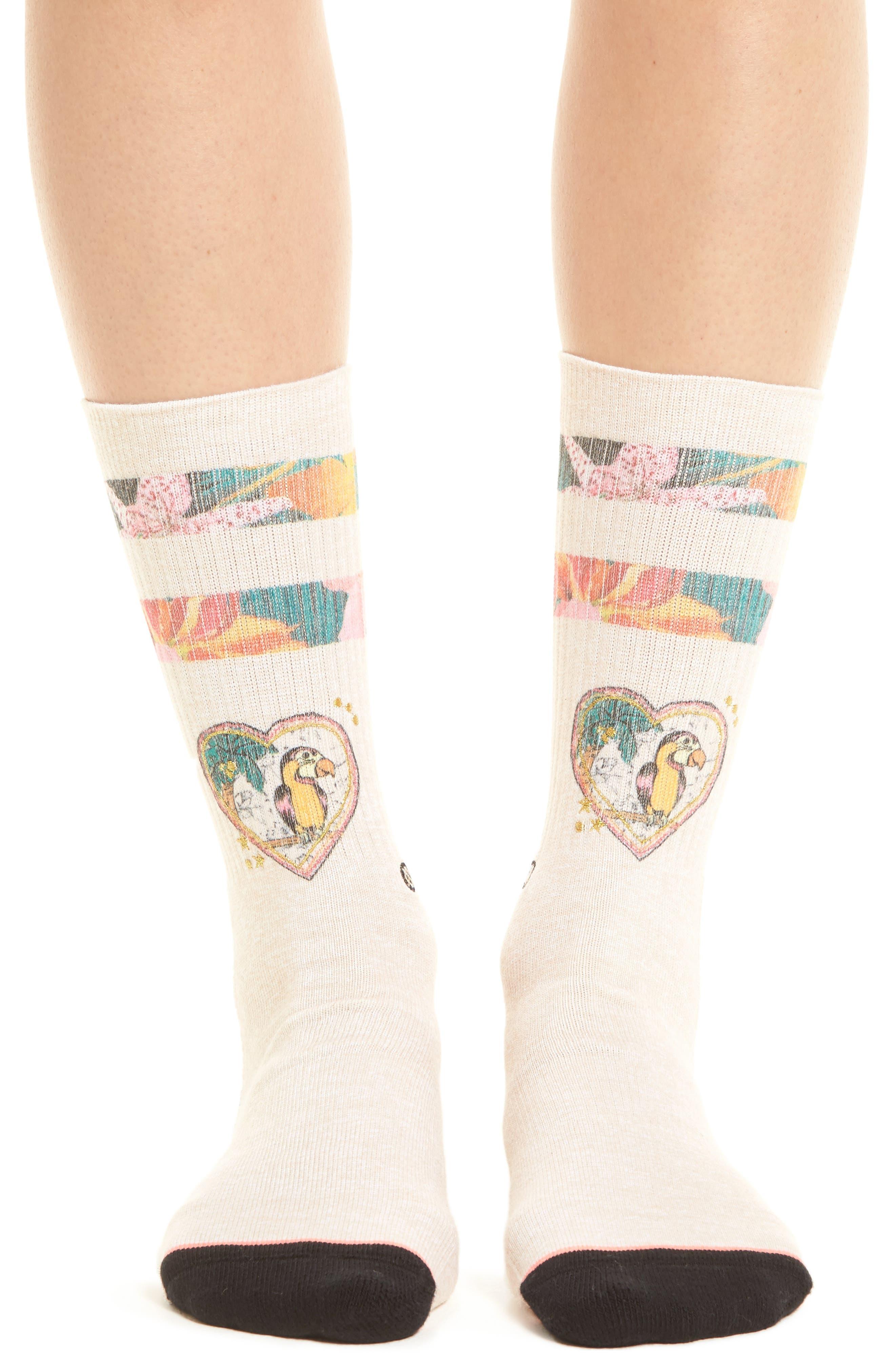Lovebird Crew Socks,                             Alternate thumbnail 2, color,                             Natural