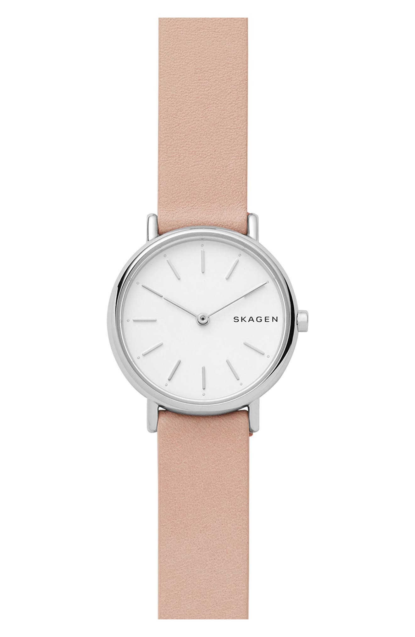Signature Slim Leather Strap Watch, 30mm,                         Main,                         color, Pink/ White/ Silver