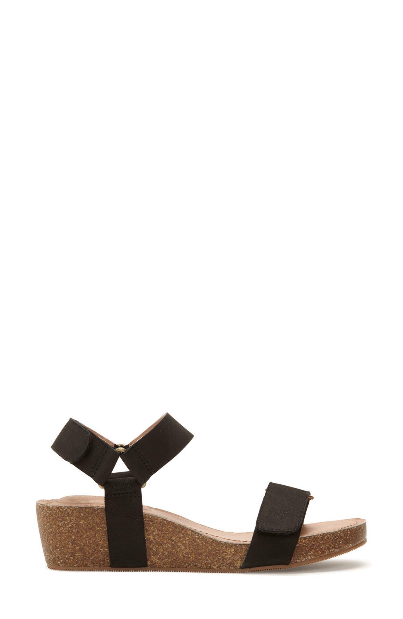 Adam Tucker Shea Wedge Sandal,                             Alternate thumbnail 3, color,                             Black Nubuck Leather