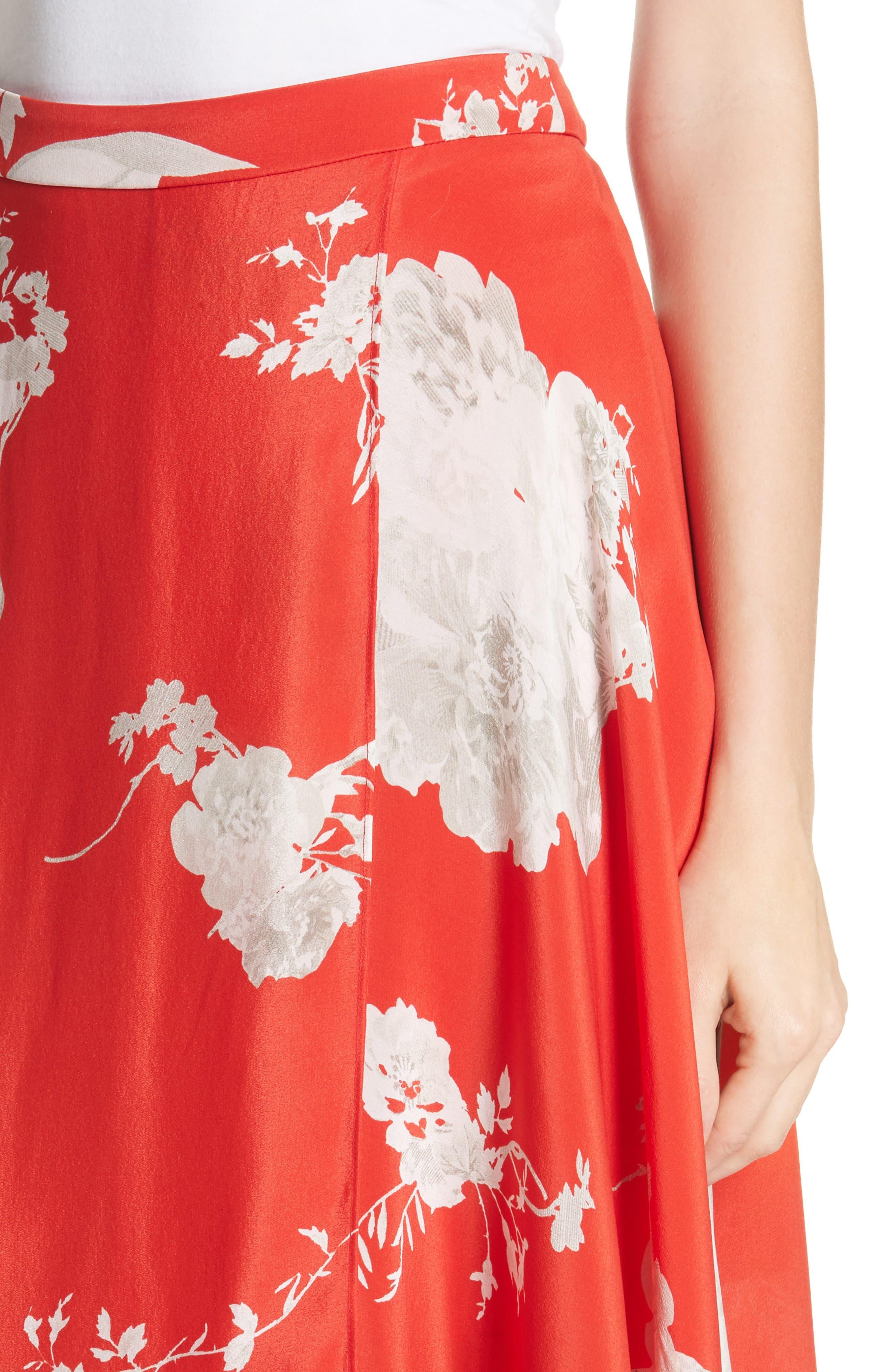 Nanette Faux Wrap Floral Silk Skirt,                             Alternate thumbnail 4, color,                             Damask Rose- Poppy
