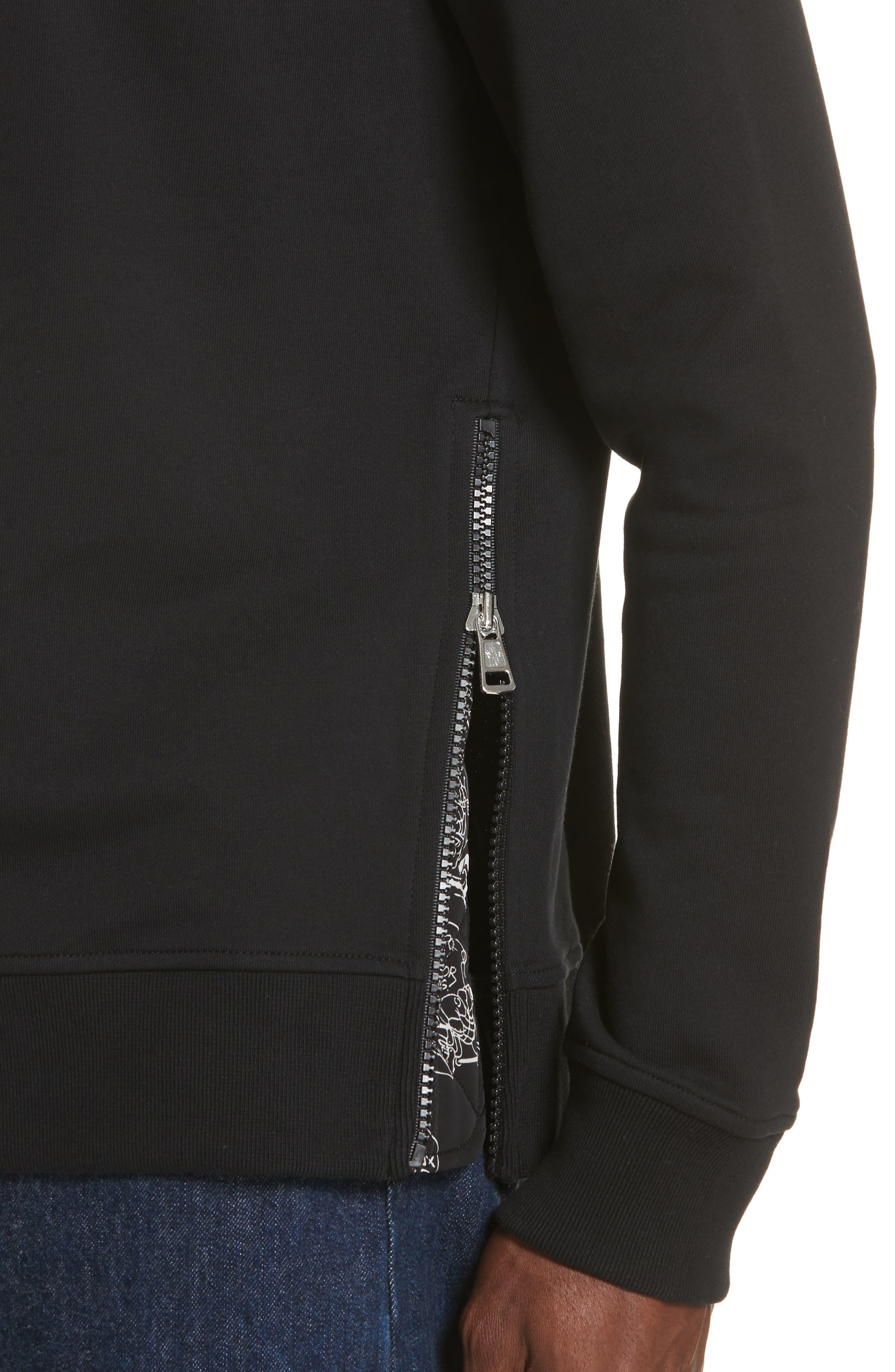 Maglia Griccollo Side Zip Crewneck Sweatshirt,                             Alternate thumbnail 4, color,                             Black