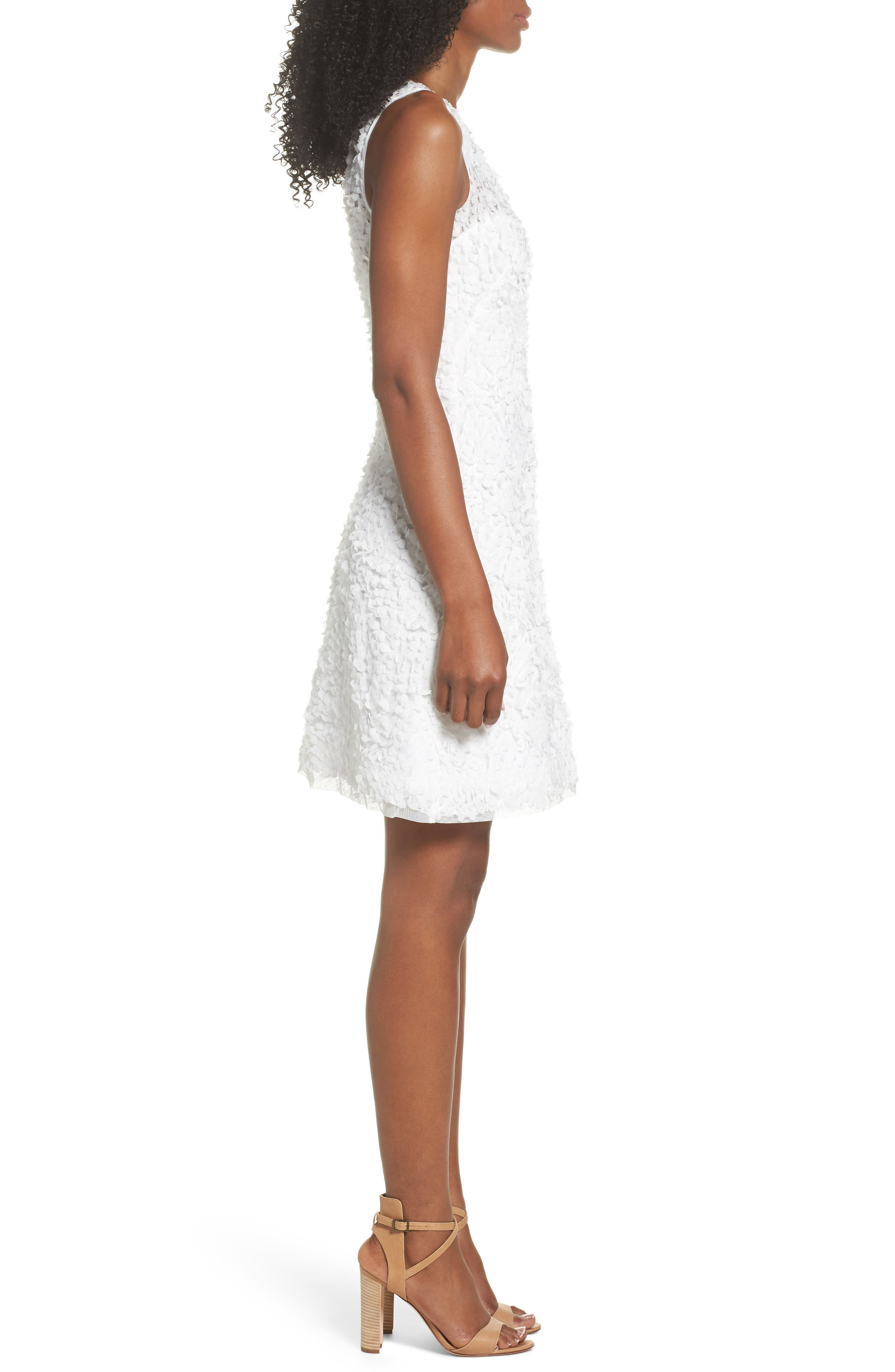 Sleeveless Petal Dress,                             Alternate thumbnail 3, color,                             White