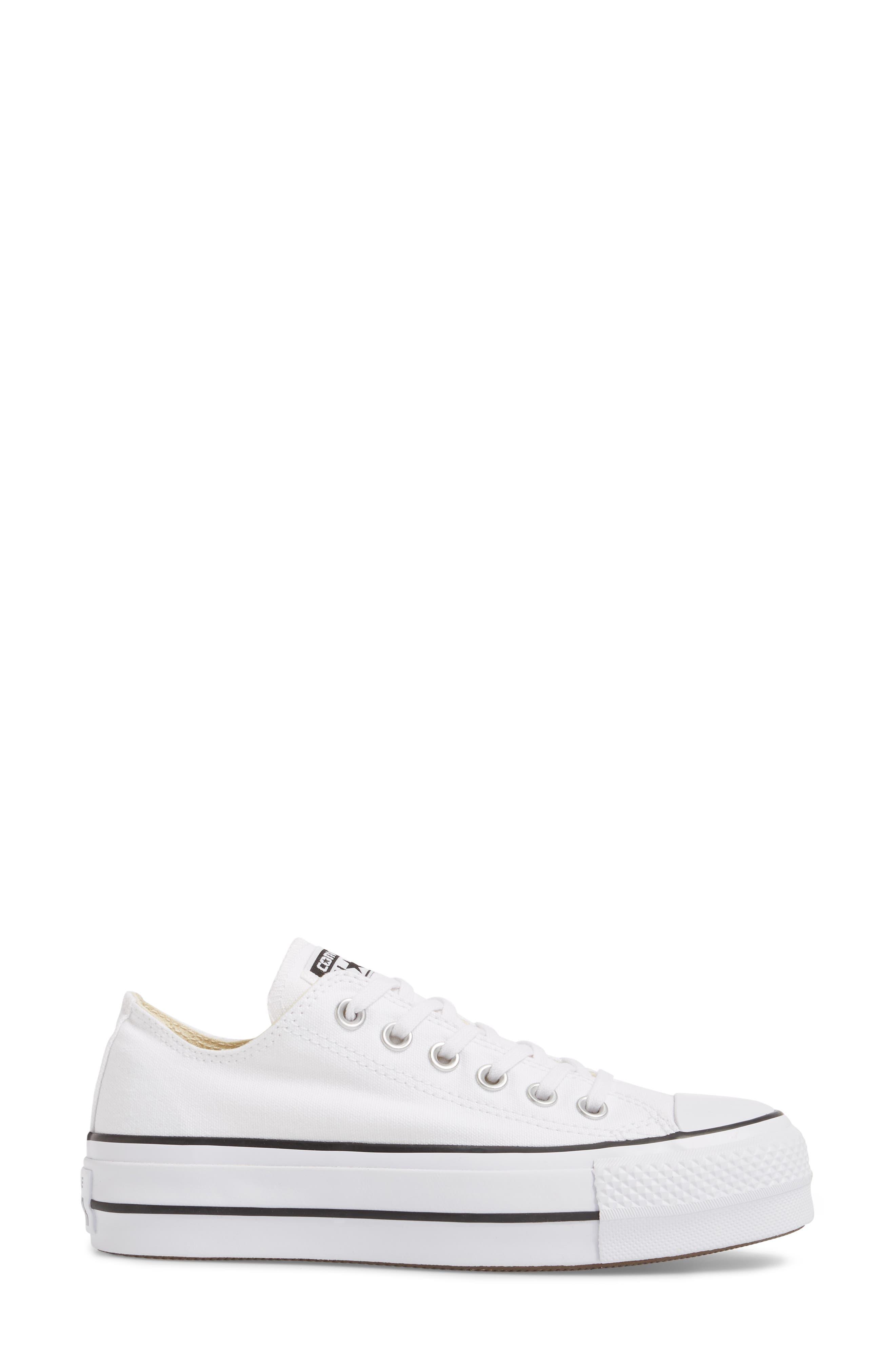 Chuck Taylor<sup>®</sup> All Star<sup>®</sup> Platform Sneaker,                             Alternate thumbnail 3, color,                             White/ Black/ White