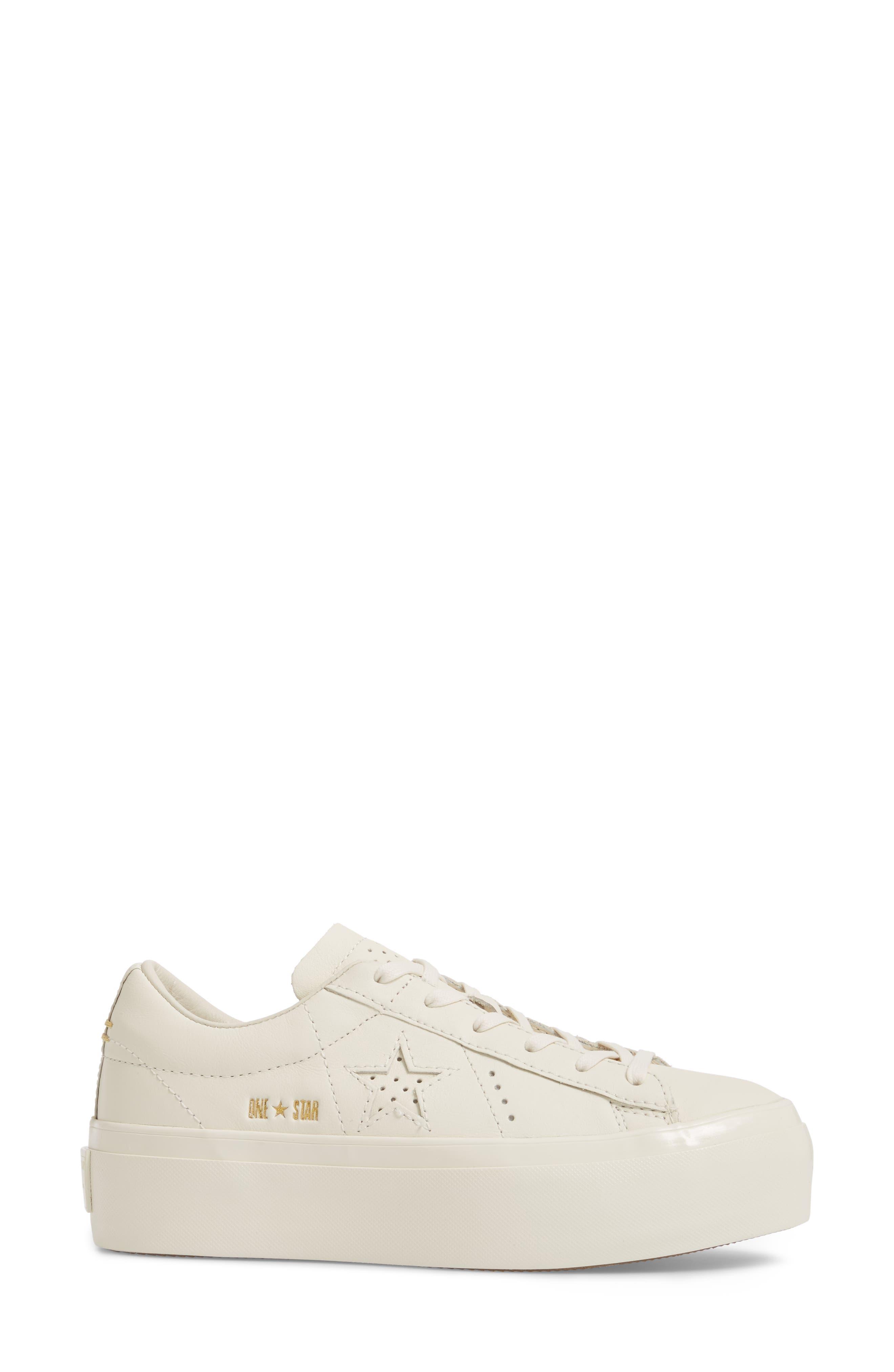 Chuck Taylor<sup>®</sup> All Star<sup>®</sup> One Star Platform Sneaker,                             Alternate thumbnail 3, color,                             Egret/ Egret