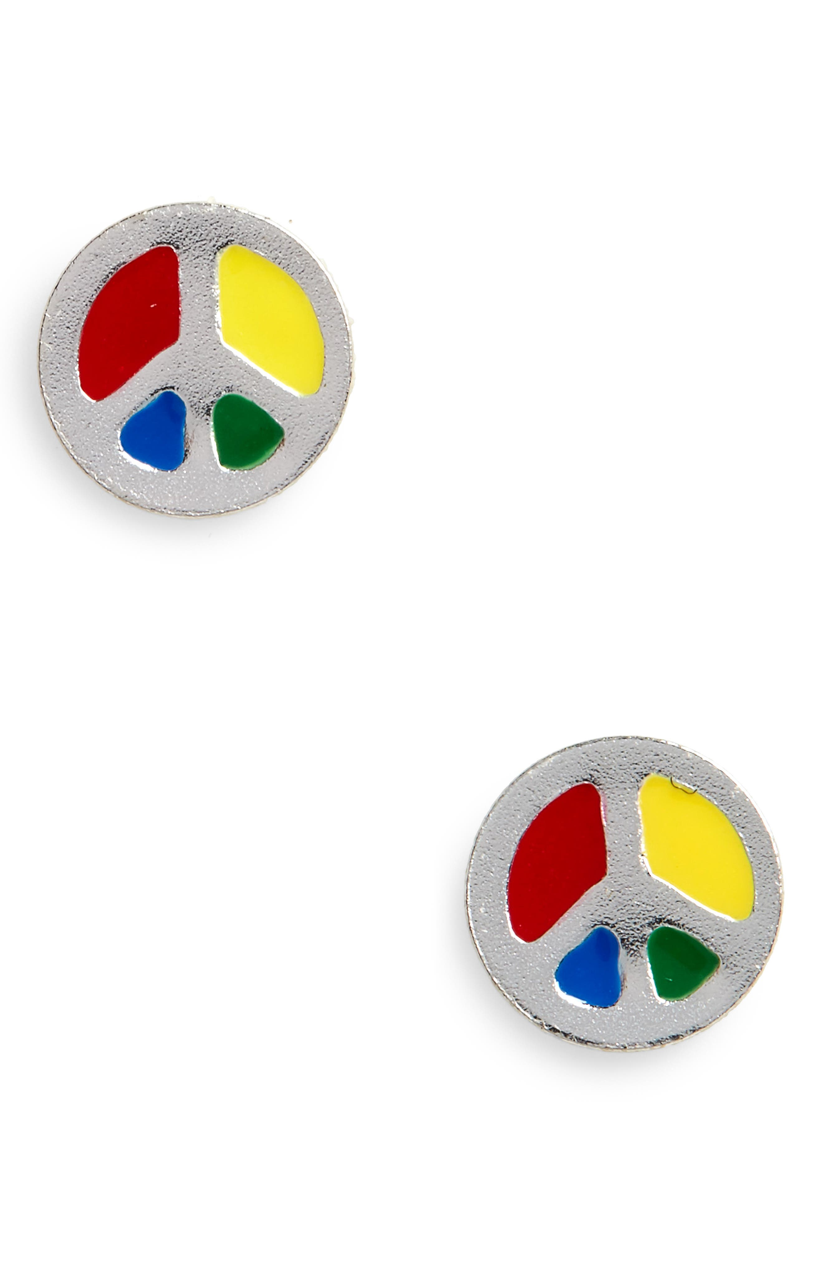 Peace Sign Sterling Silver Stud Earrings,                             Main thumbnail 1, color,                             Red/ Blue/ Yellow