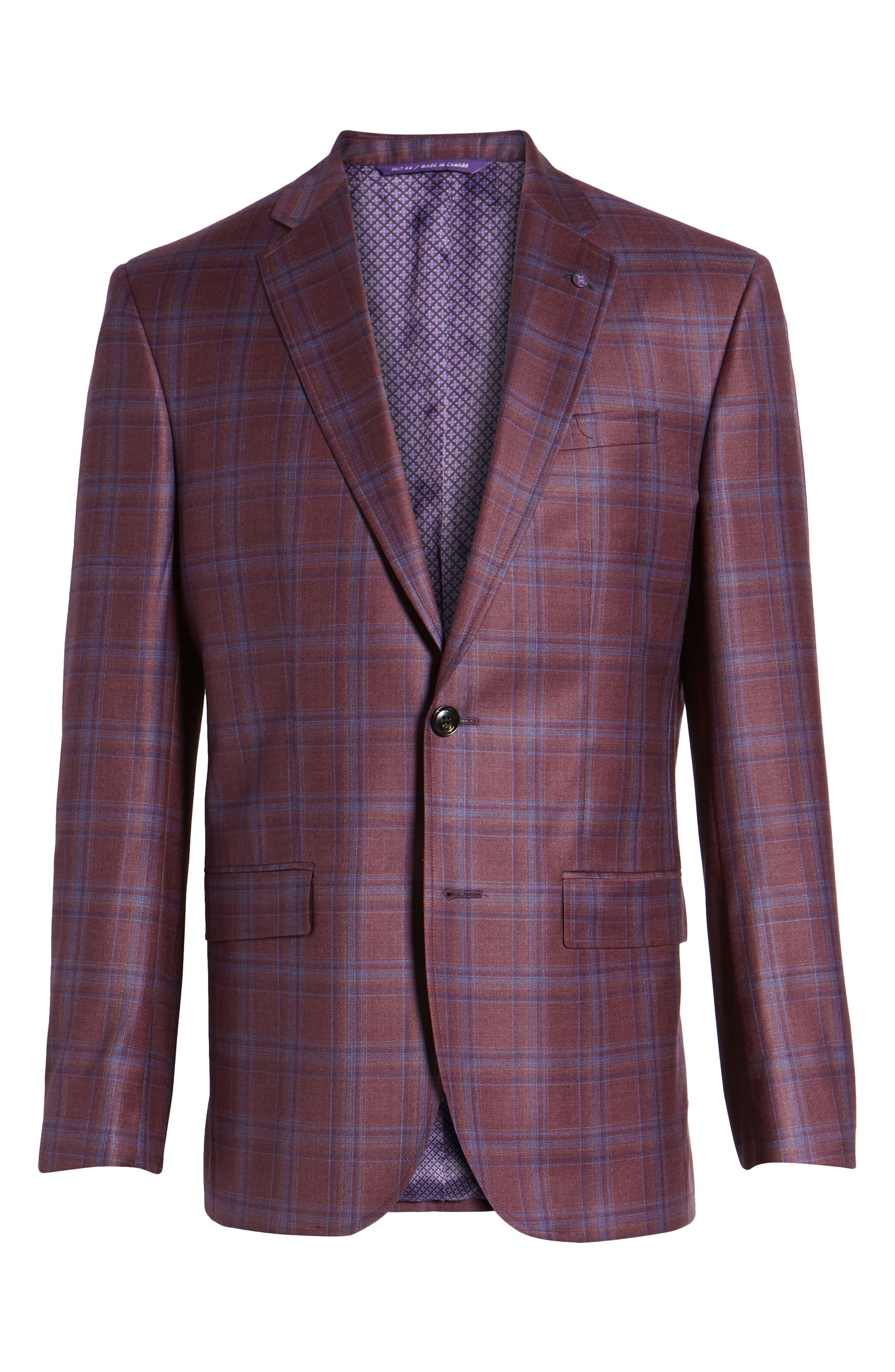 Jay Trim Fit Plaid Wool Sport Coat,                             Alternate thumbnail 6, color,                             Red