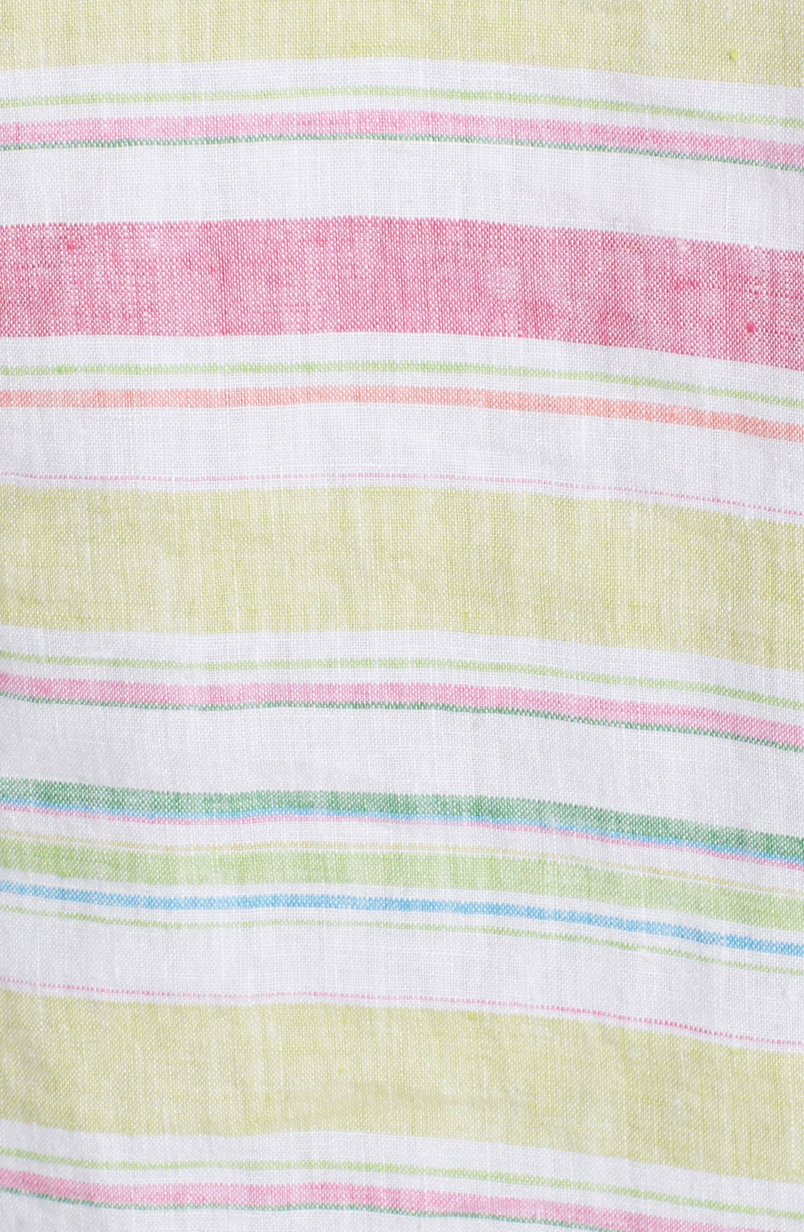 Tulum Stripe Linen Hoodie,                             Alternate thumbnail 5, color,                             Energy Yellow