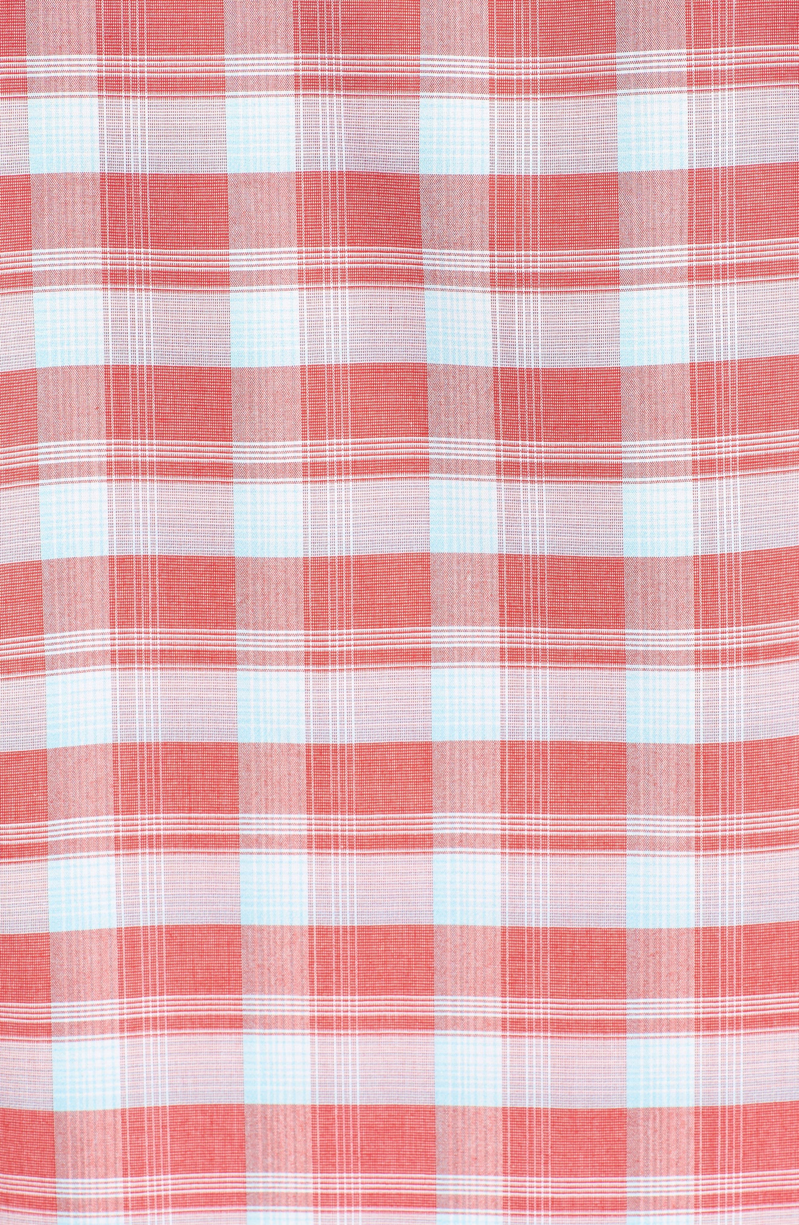 Regular Fit Plaid Sport Shirt,                             Alternate thumbnail 5, color,                             Red Pompeii Blue Check