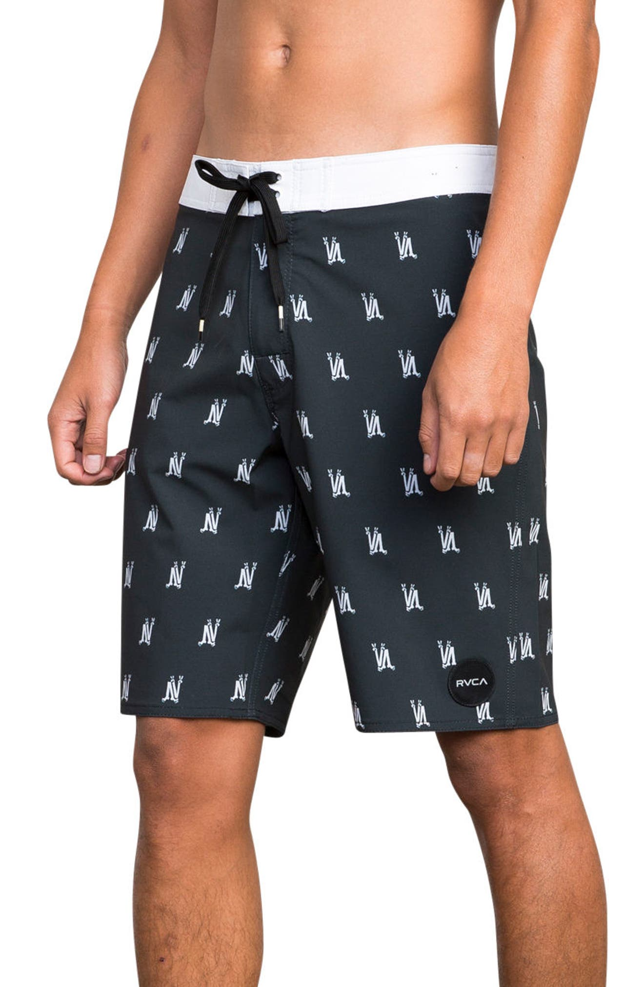 RCVA Saunders Board Shorts,                             Alternate thumbnail 3, color,                             Black