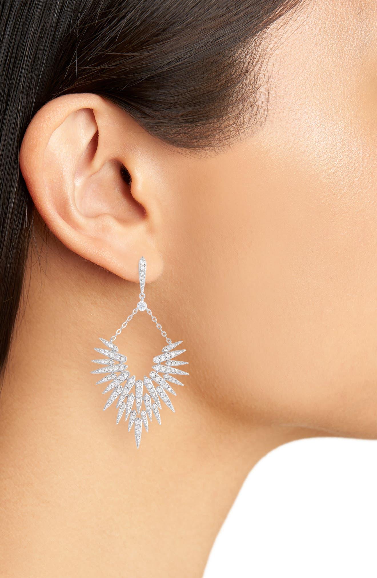 Cubic Zirconia Sunburst Drop Earrings,                             Alternate thumbnail 2, color,                             Silver