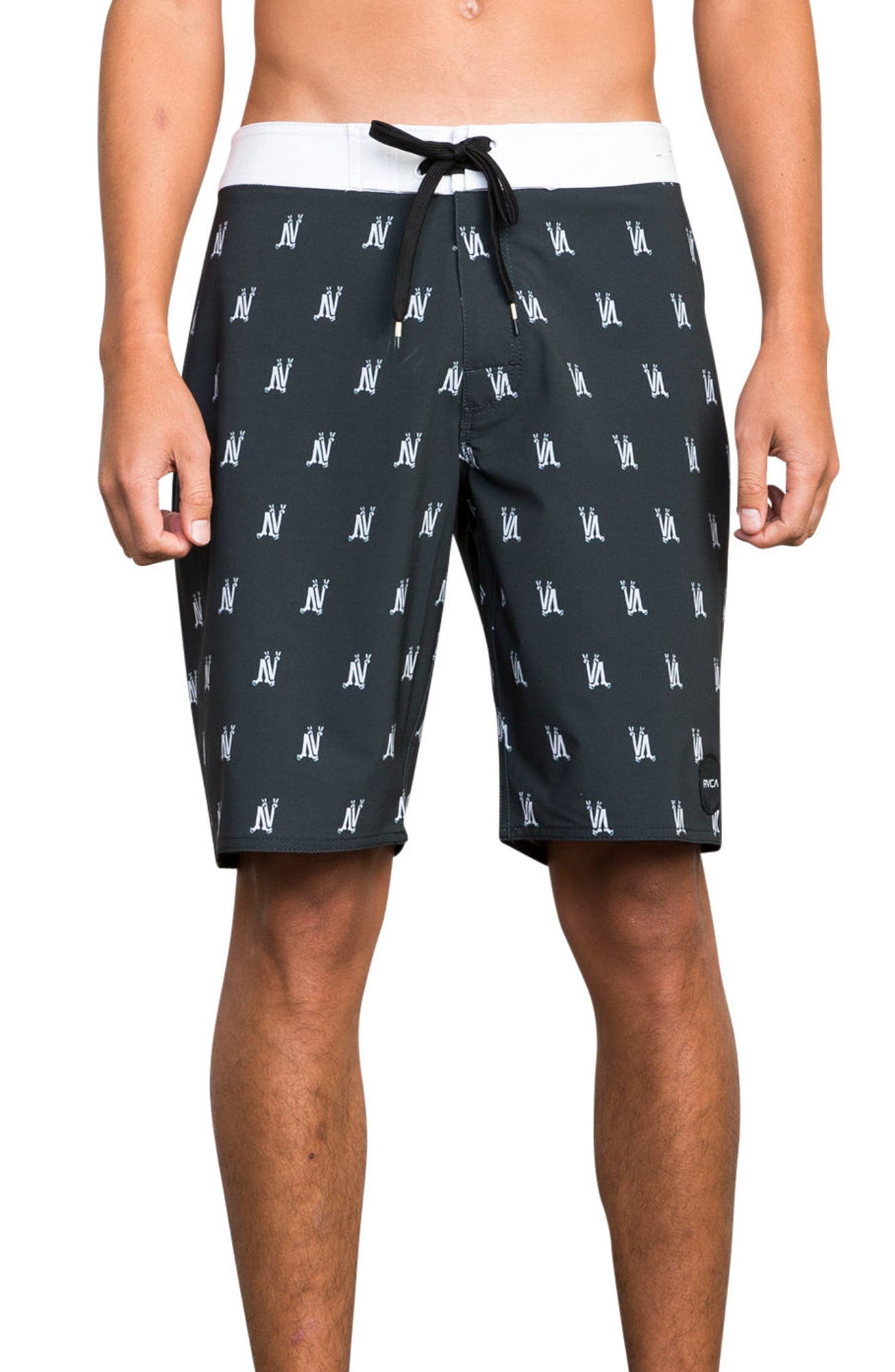 RCVA Saunders Board Shorts,                             Main thumbnail 1, color,                             Black