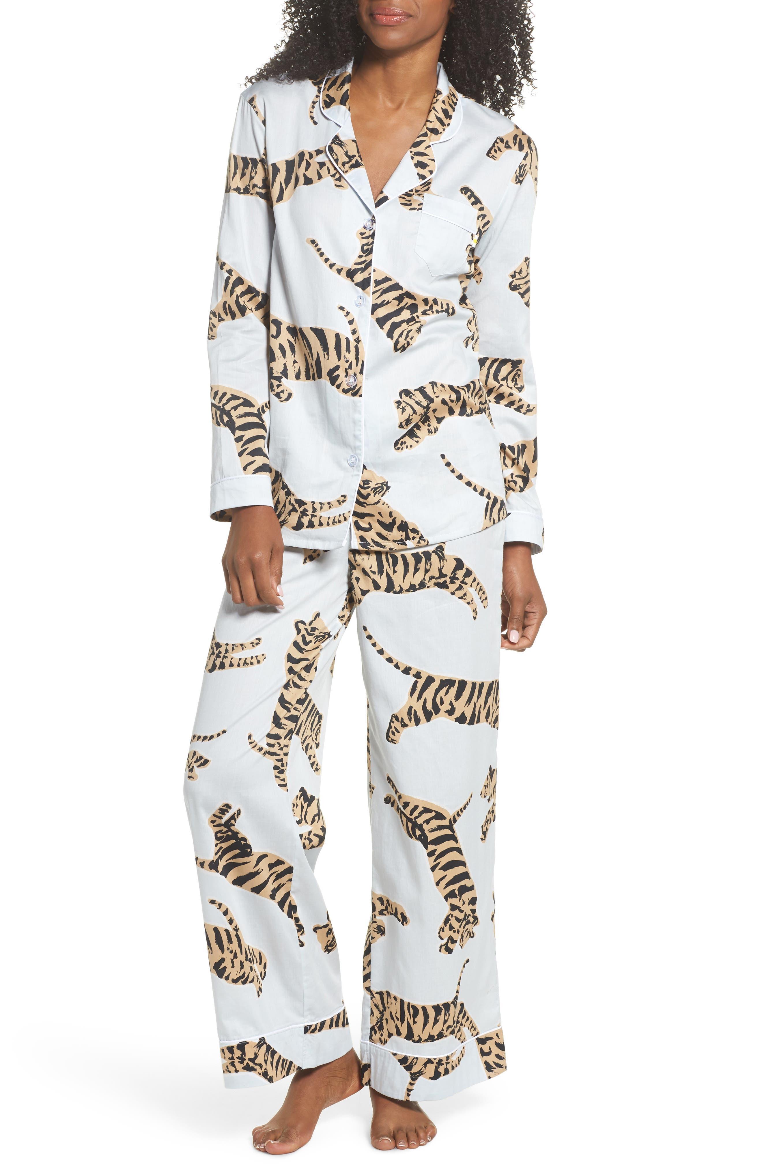 Suzie Cotton Pajamas,                             Main thumbnail 1, color,                             Tiger Moon Light Blue