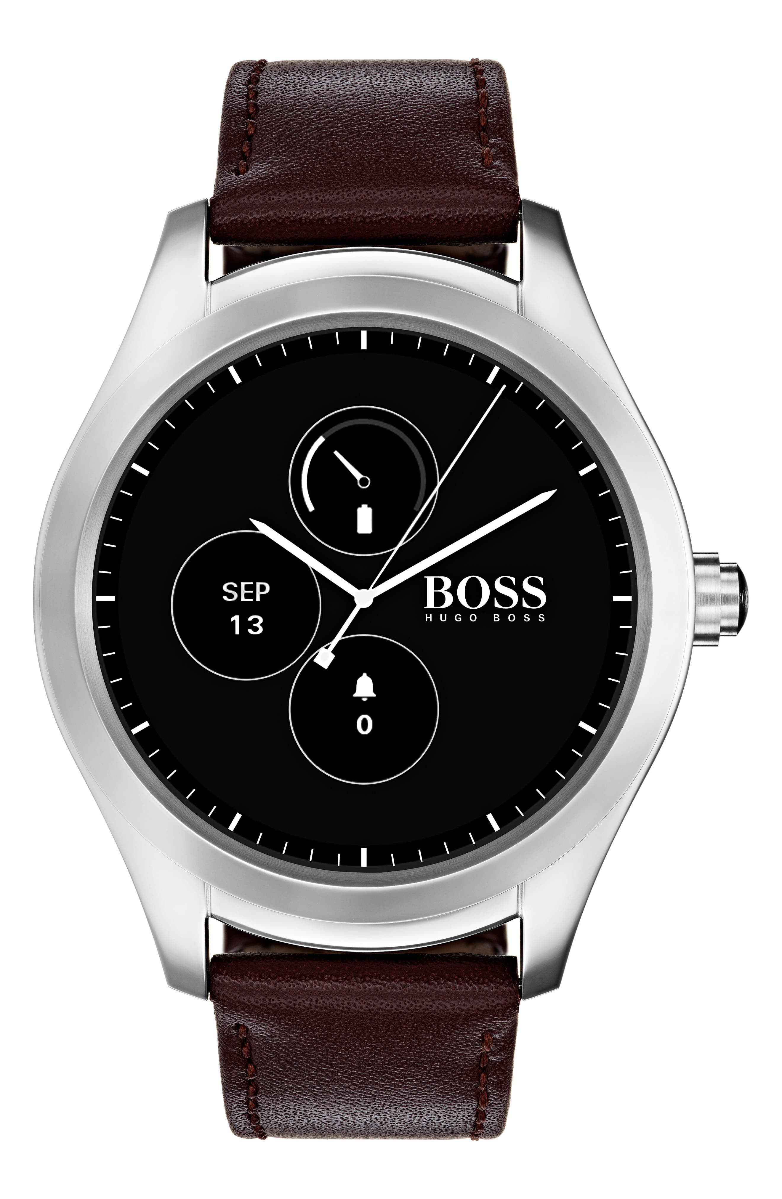 Alternate Image 6  - BOSS Touch Leather Strap Smart Watch Set