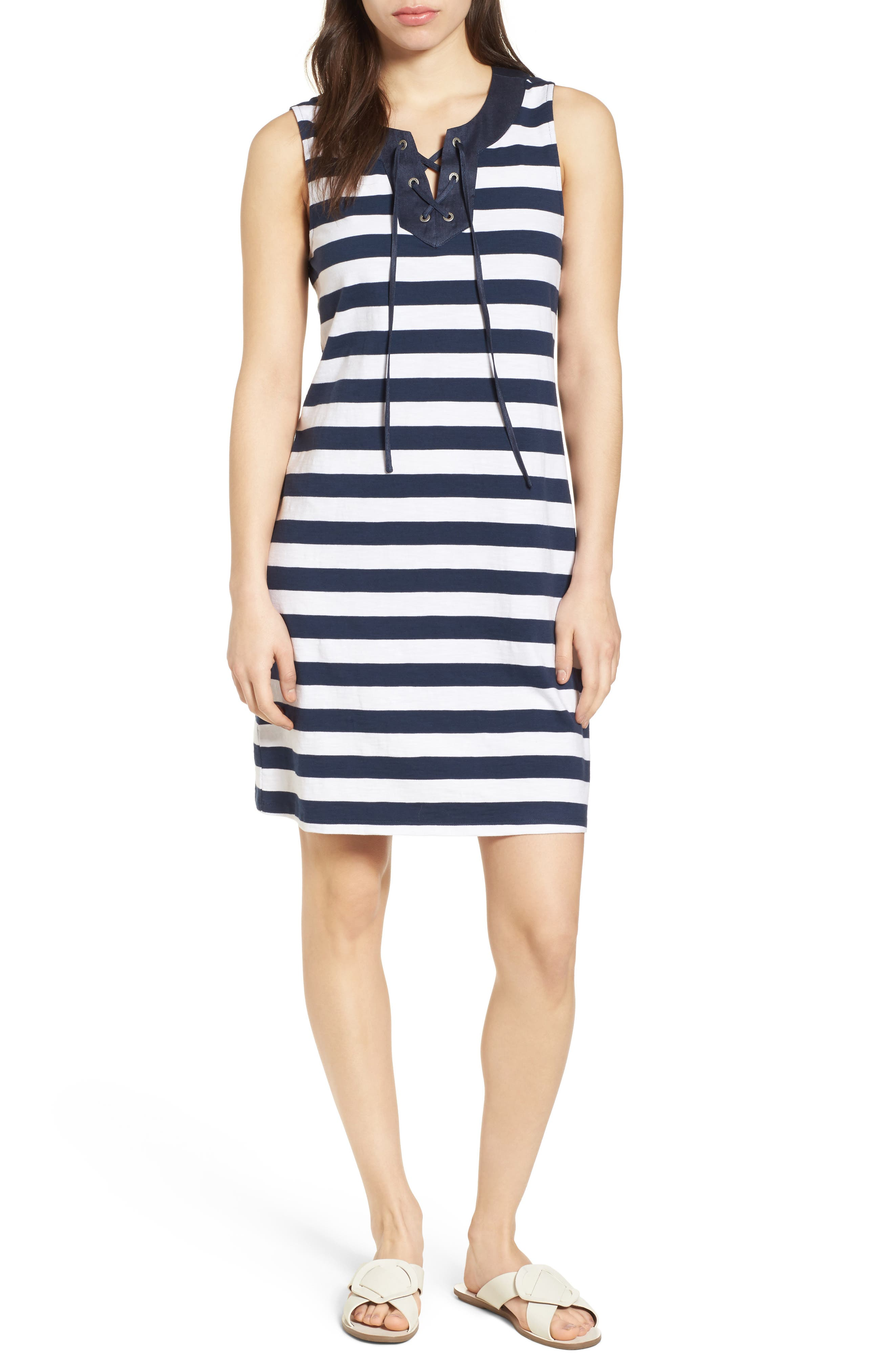 Stripe Right Lace-Up Stretch Cotton Dress,                             Main thumbnail 1, color,                             Ocean Deep