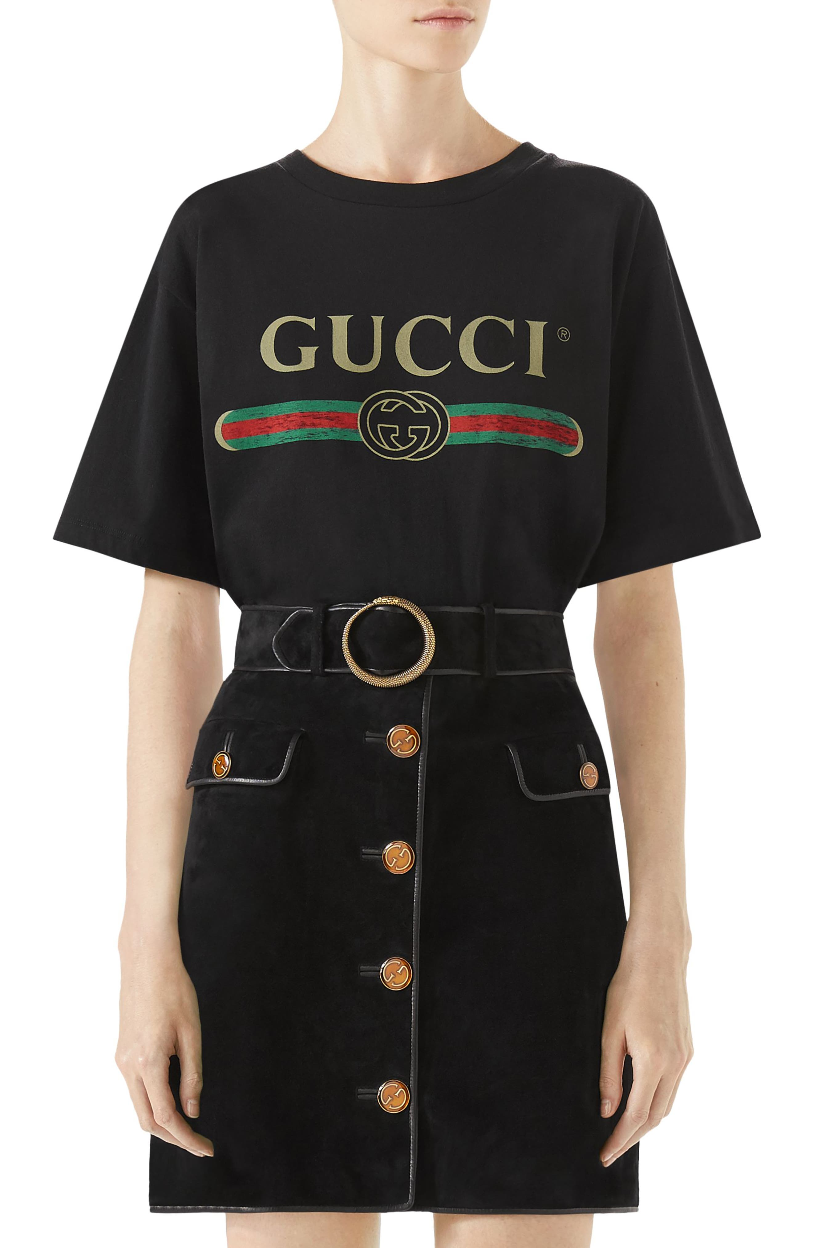 Suede Button Front Skirt,                         Main,                         color, Black
