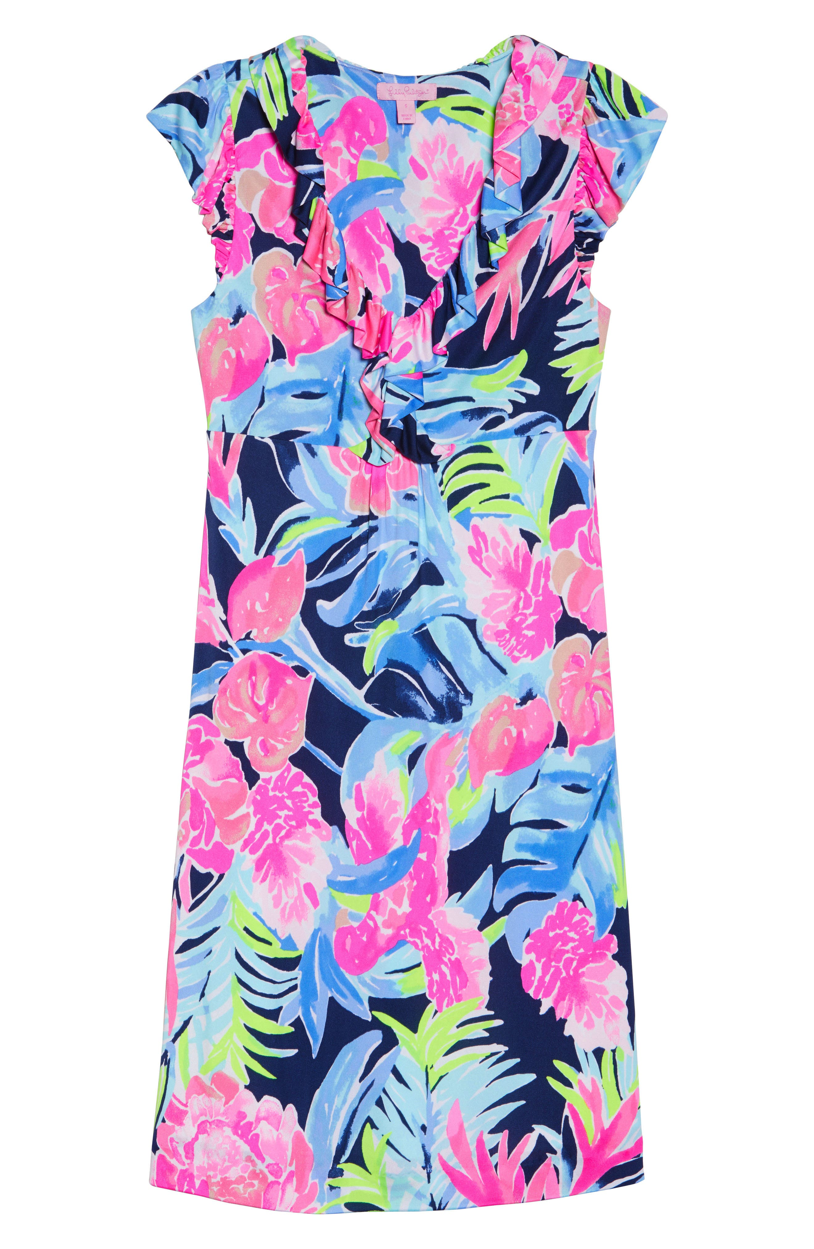 Clare Floral Silk A-Line Dress,                             Alternate thumbnail 6, color,                             High Tide Tropicolada
