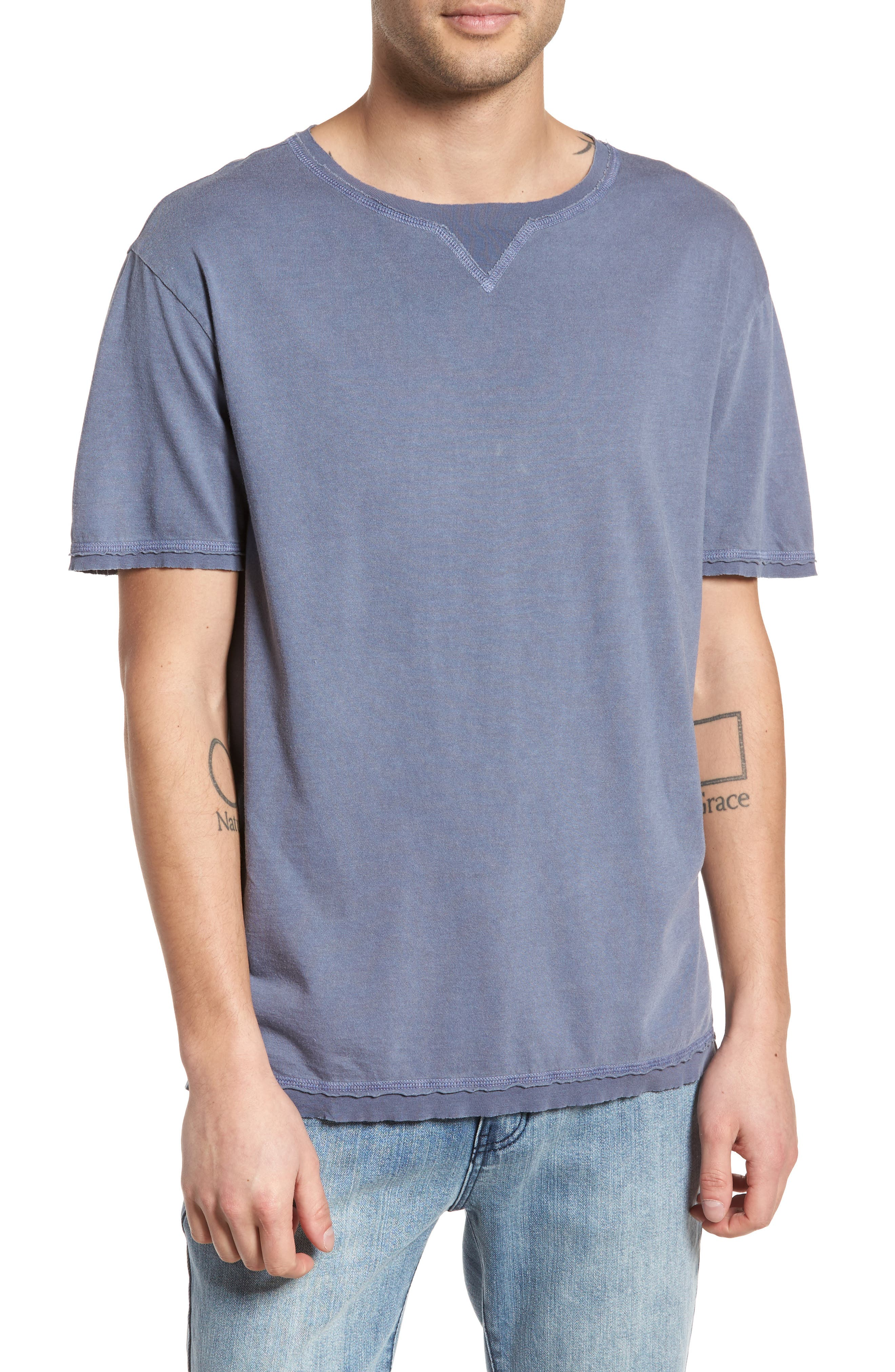 Raw Hem T-Shirt,                             Main thumbnail 1, color,                             Blue Indigo