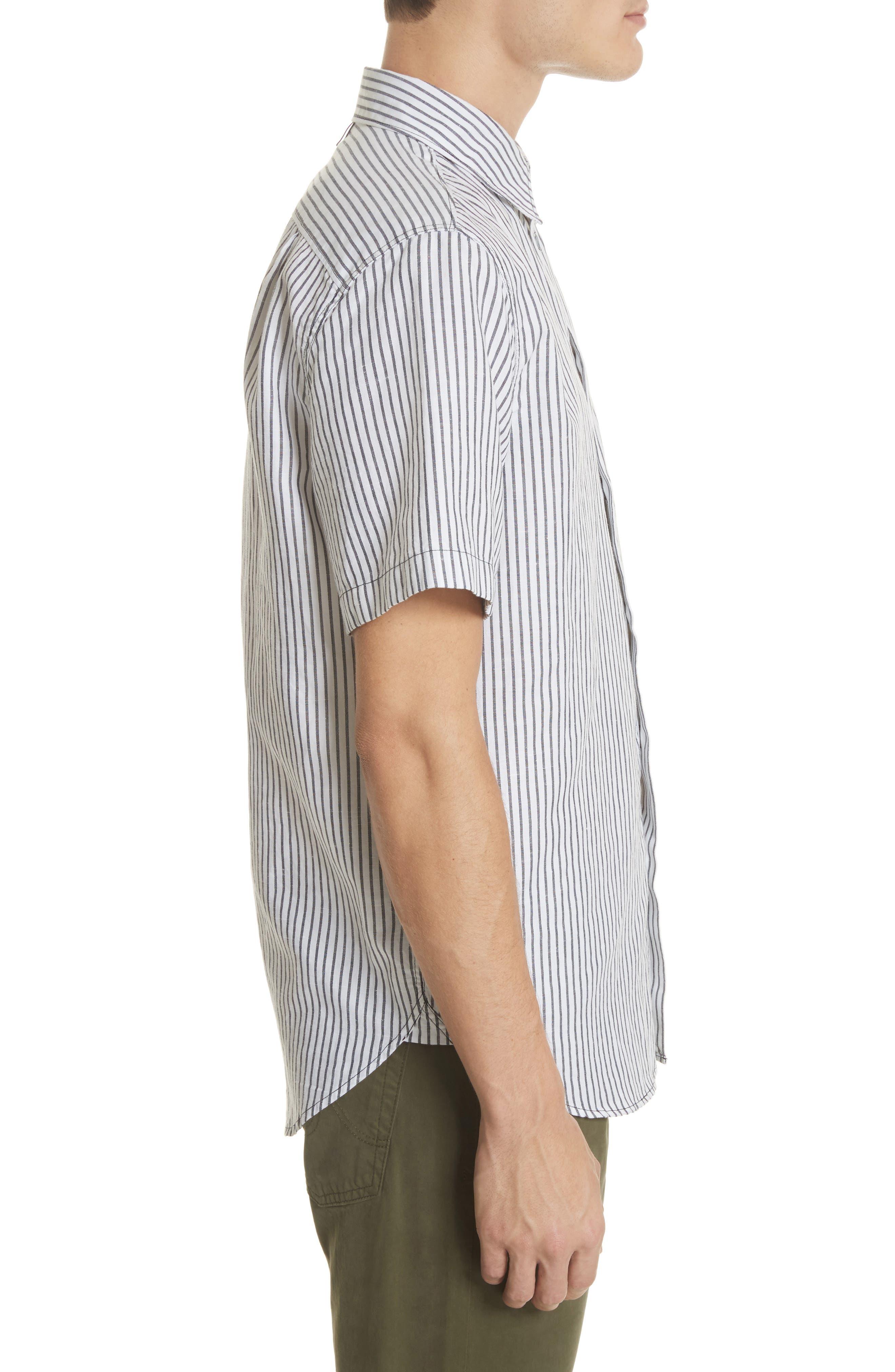 Stripe Short Sleeve Sport Shirt,                             Alternate thumbnail 4, color,                             White/Navy